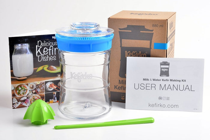KefirKo Fermenter Kit 848ml - Easily Make Milk & Water Kefir or Kombucha at Home