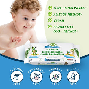 My Happy Planet 100% Biodegradable Baby Wet Wipes, 99.9% Water, Plastic-Free, Compostable, Vegan - 2tech ltd