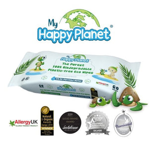 MY HAPPY PLANET 100% Plastic Free, Biodegradable, Home Compostable, Wet Wipes, Vegan, Hypoallergenic & Dermatologically Tested - 2tech ltd