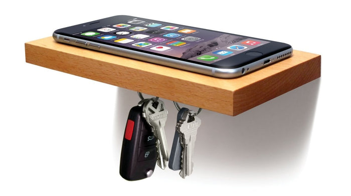 PLANK Wooden Floating Shelf with a Magnetic Underside for Mobile and Keys Storage