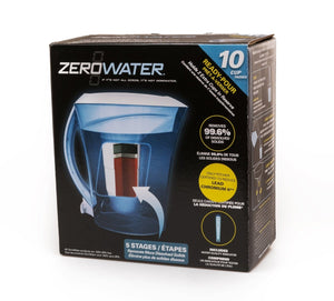 ZeroWater 10 Cup/ 2.35 ltr Ready Pour Water Filtration Pitcher with Free Digital TDS Meter - 2tech ltd