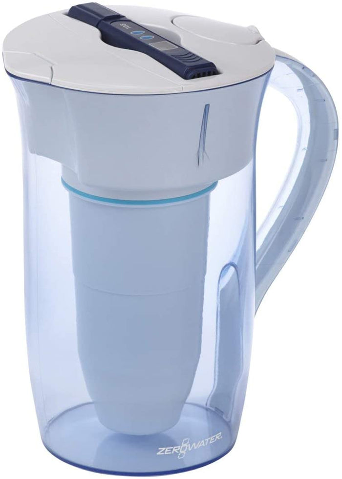 ZeroWater 10 Cup Round Water Filter Jug With Advanced 5 Stage Filter, Water Quality Meter + Water Filter Cartridge Included, 2.4 litres
