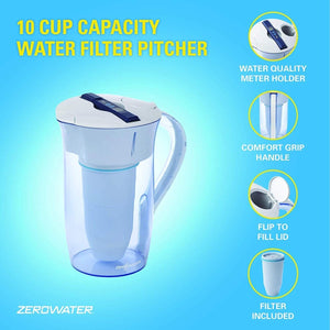 ZeroWater 10 Cup Round Water Filter Jug With Advanced 5 Stage Filter, Water Quality Meter + Water Filter Cartridge Included, 2.4 litres - 2tech ltd