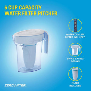 ZeroWater 6 Cup Water Filter Jug With Advanced 5 Stage Filter + Water Quality Meter (Water Filter Cartridge Included) 1.4 litres - 2tech ltd