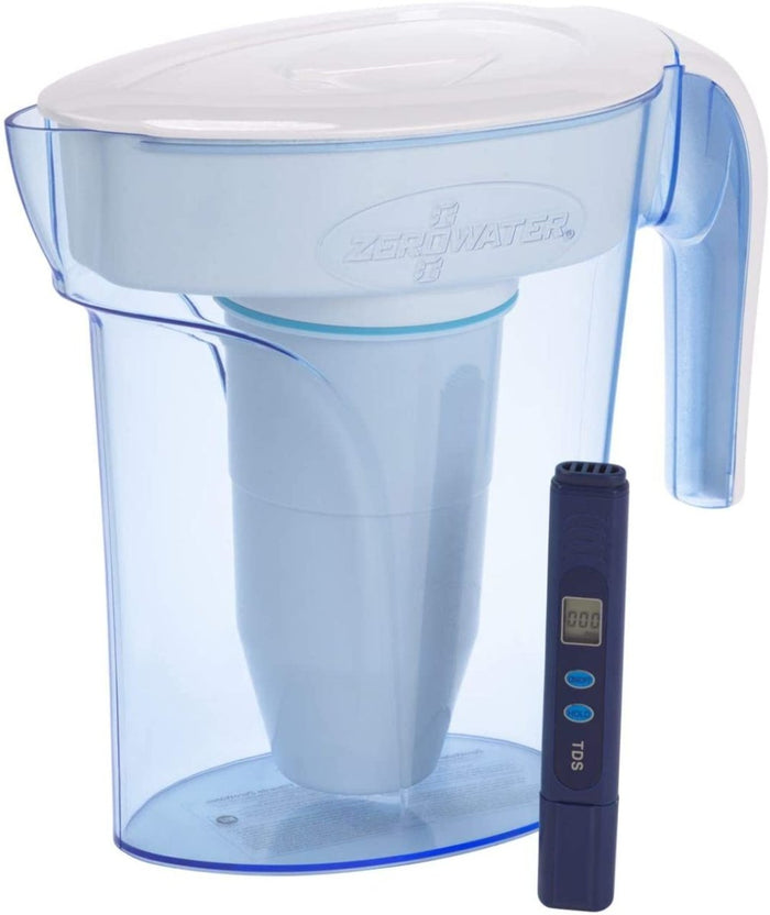 ZeroWater 6 Cup Water Filter Jug With Advanced 5 Stage Filter + Water Quality Meter (Water Filter Cartridge Included) 1.4 litres