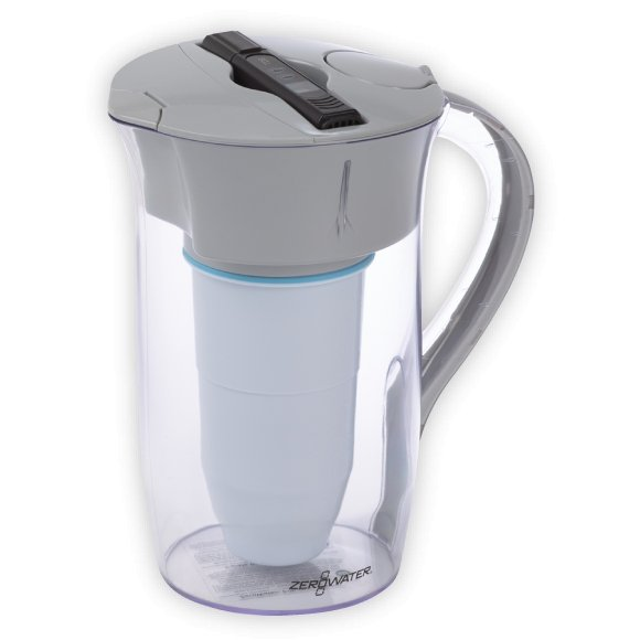 ZeroWater 8 Cup/ 1.9 litre Round Water Filtration Pitcher with Free Digital TDS Meter