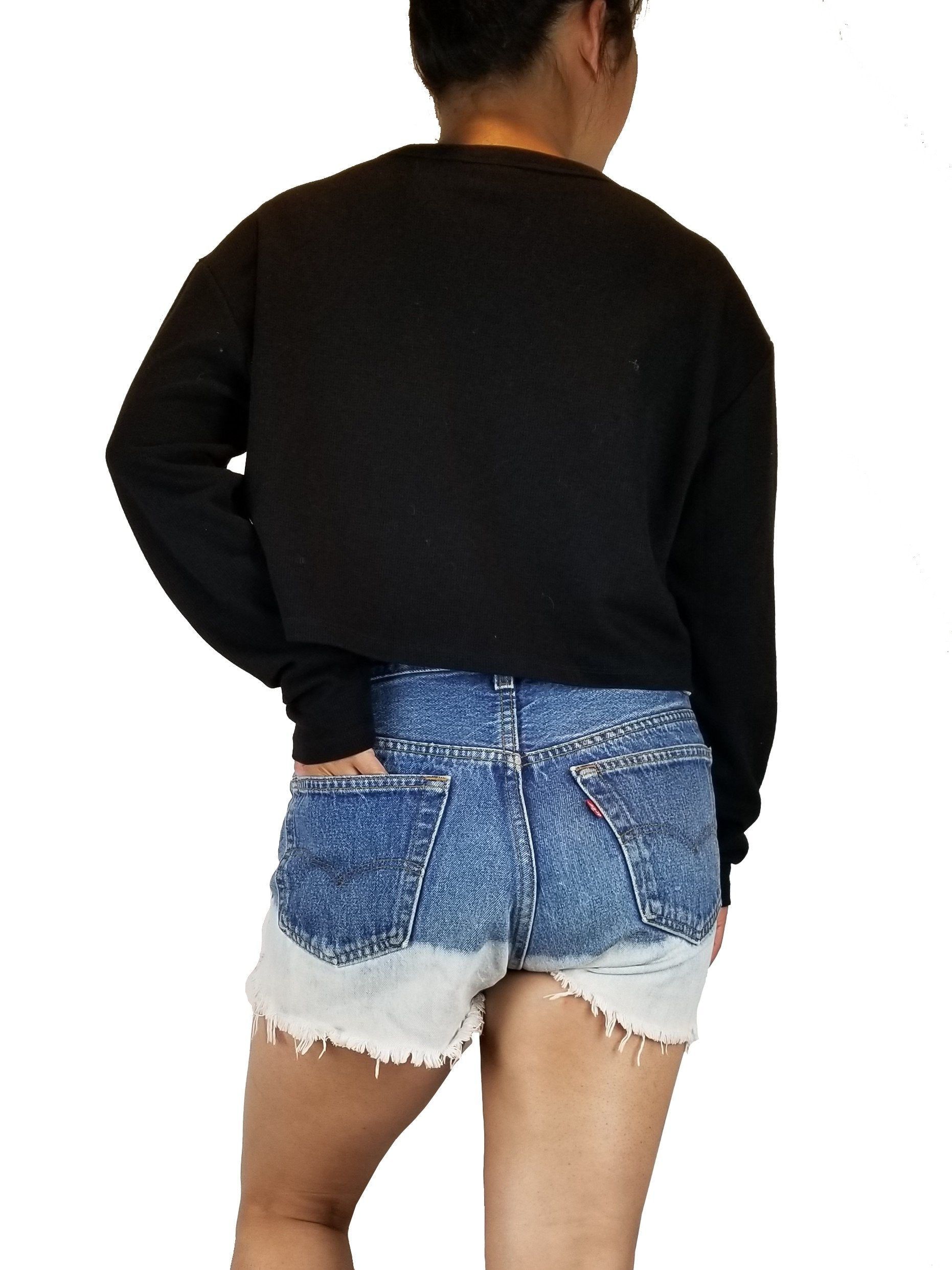 Sunday Best Black Crop Top, High rise shorts with unique design that goes with your unique style, Blue, 100% Cotton, Shorts, jean shorts, women's jean shorts, fashionable shorts, shorts with unique design, women's fourth of July shorts