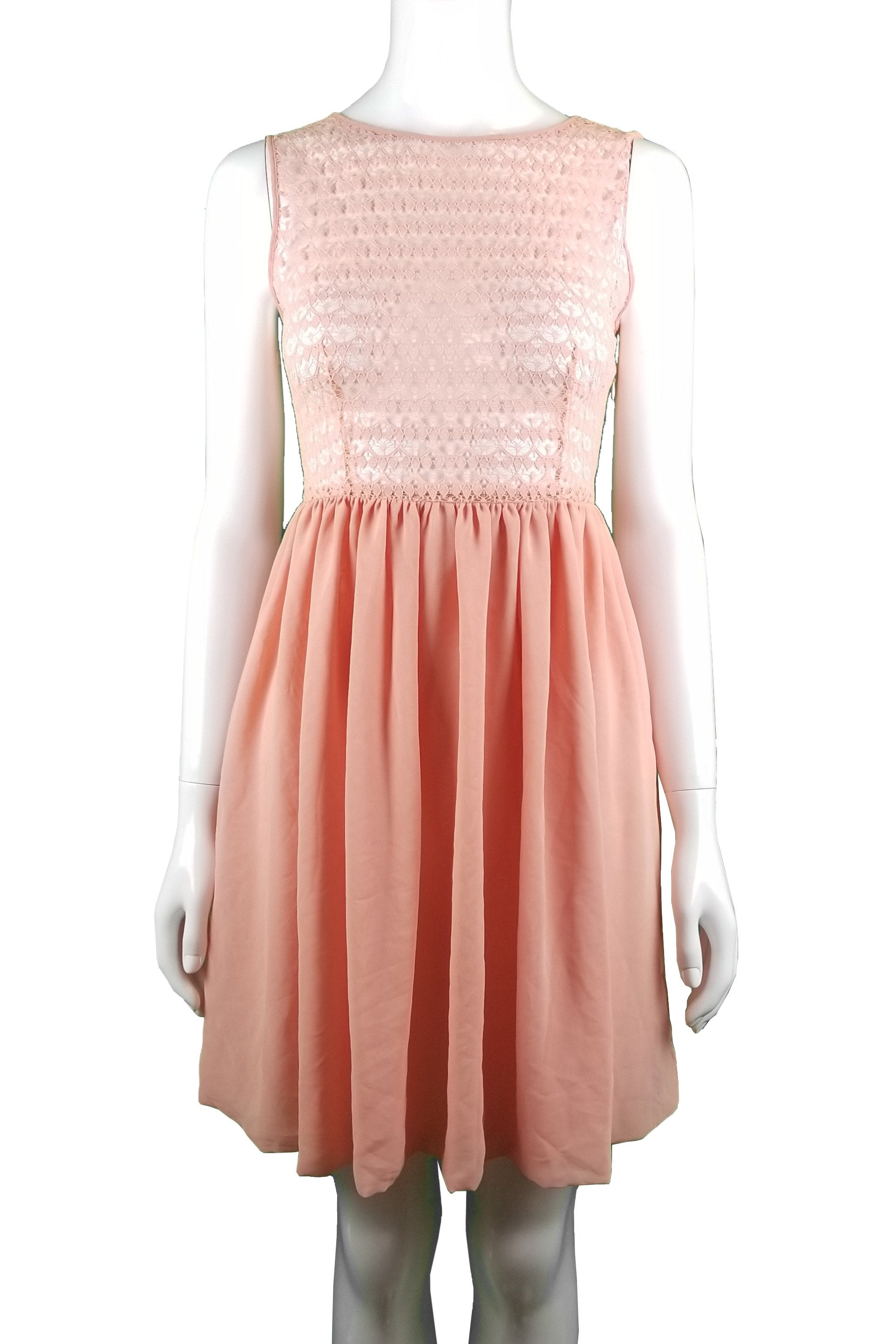 American Apparel Pink Lace Top Fit and Flare Midi Dress, This decidedly feminine dress is perfect for a hot summer picnic date or casual hangouts with your lovely friends. , Pink, 100% Polyester, women's Dresses & Rompers, women's Pink Dresses & Rompers, American Apparel women's Dresses & Rompers, Cute lace dress, spring fit and flare lace dress, summer dress, fit and flare dress with lace top