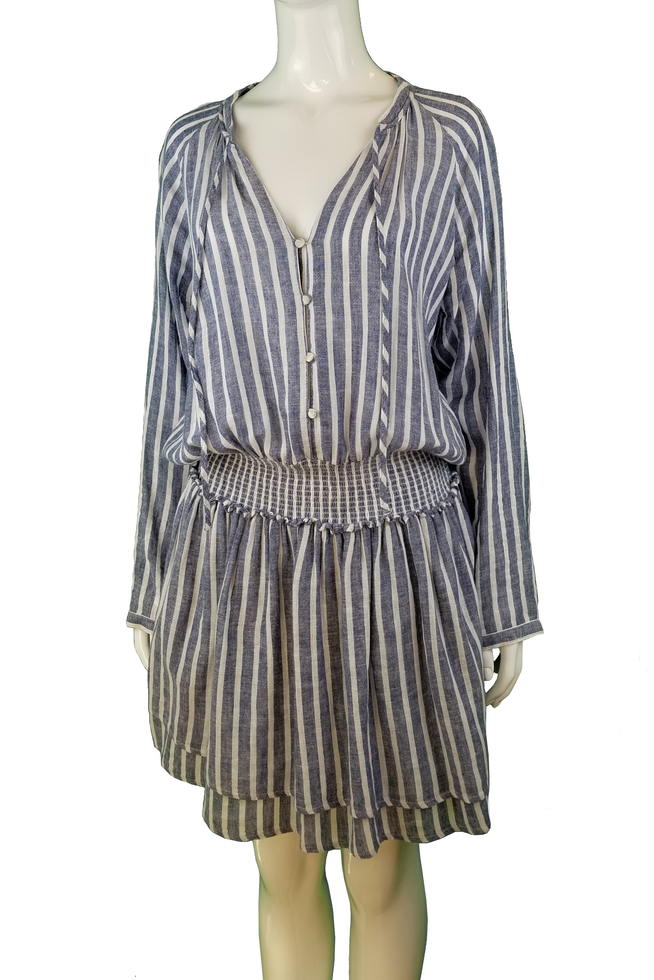 Rails Stripped Long Sleeve Dress, Blue and white stripped loose fitting dress. Comfortable to wear, White, Blue, 55% Linen, 45% Rayon, women's Dresses & Rompers, women's White, Blue Dresses & Rompers, Rails women's Dresses & Rompers, Dress, women's loose fitting shirt dress, women's linen dress with V-neck, women's summer shirt dress, blue A-line dress with long sleeves and V-neck