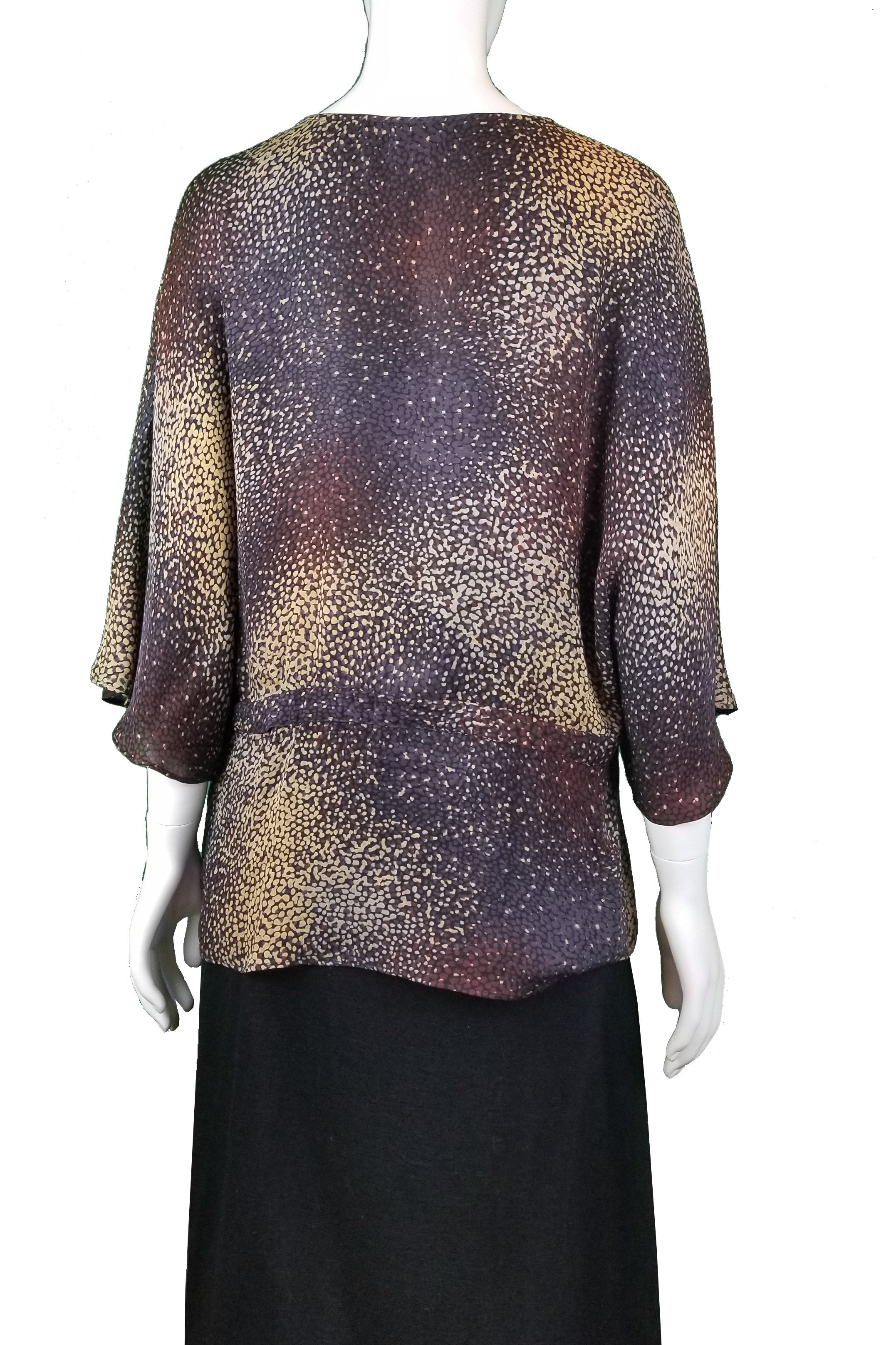 Parker Pure Silk Leopard Print Top, It can't get more comfortable and feminine than this light silky women's skirt, Brown, Purple, 100% Silk, Women's top, women's silk top, women's silk shirt, women's leopard print top