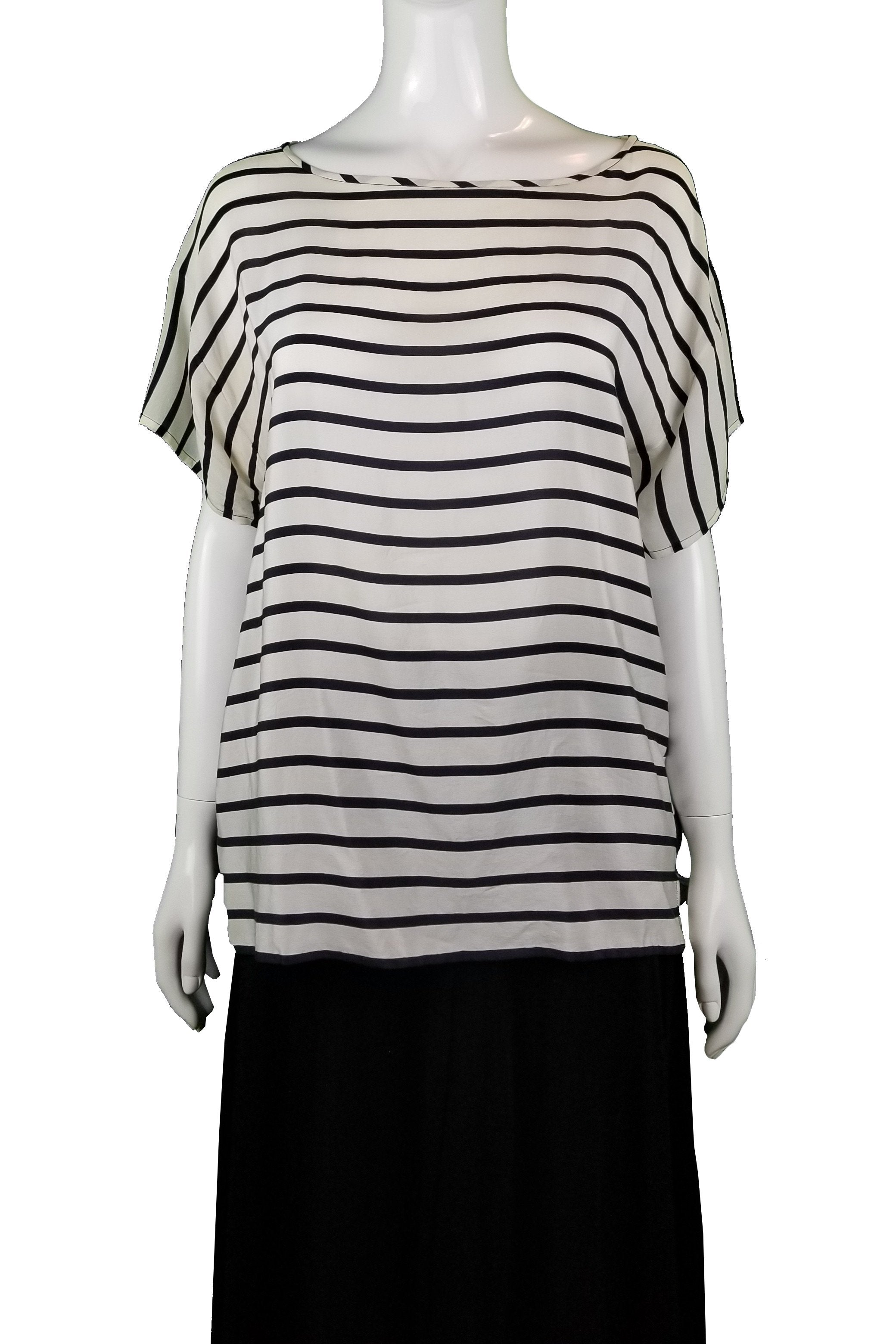 Club Monaco B/W Stripped Shirt, Feeling a little unconventional? Get this cute stripped  shirt with front and back of different patterns., Black, White, 100% Silk, women's Tops, women's Black, White Tops, Club Monaco women's Tops, Women's black and white top, women's top, women's shirt, women's summer top