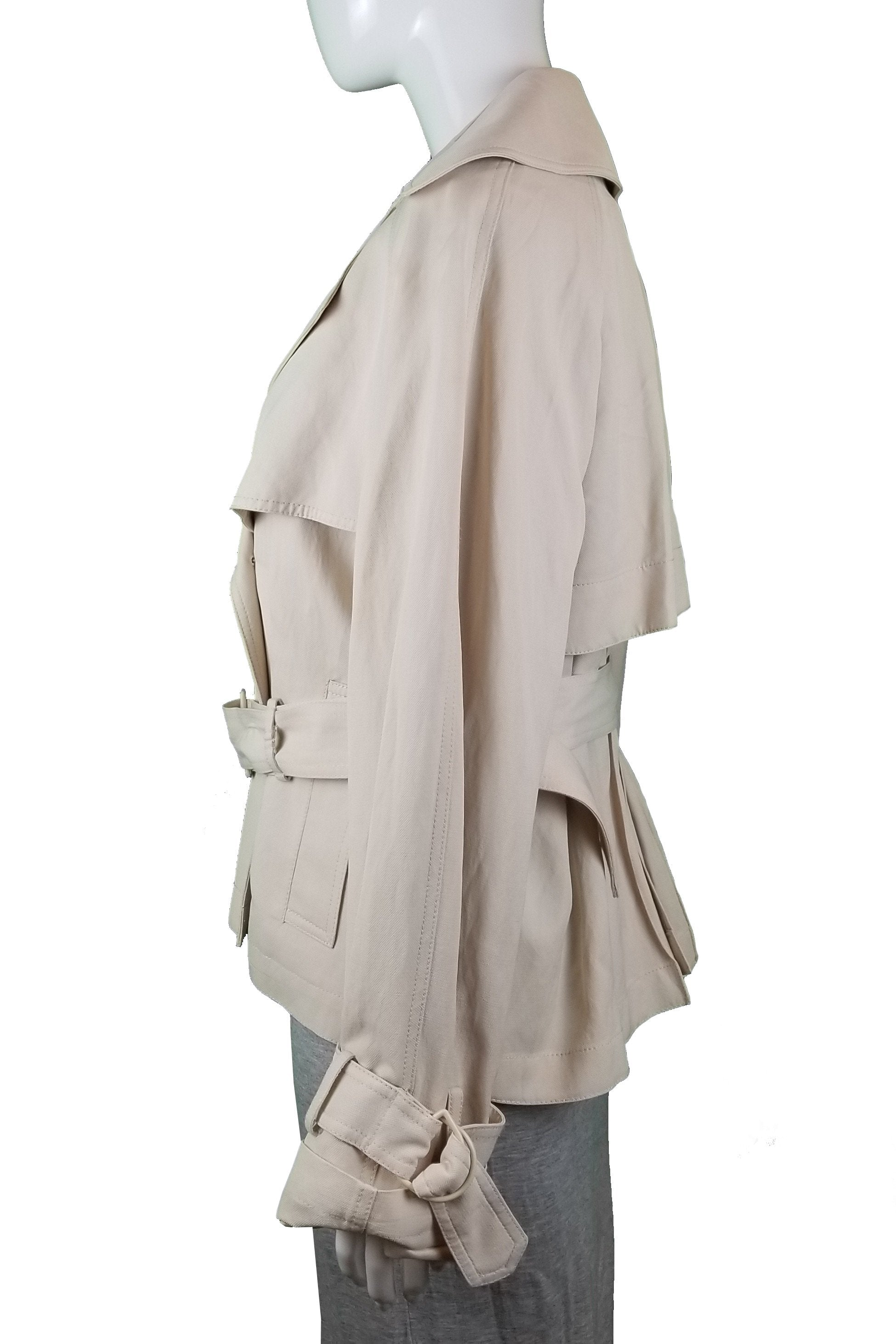 Vince Beige Fitted Jacket, Feel confident in this flattering design with soft and drapey material. , White, 58% Viscose, 23% Linen, 19% Cotton, women's jacket, women's work jacket, women's work blazer