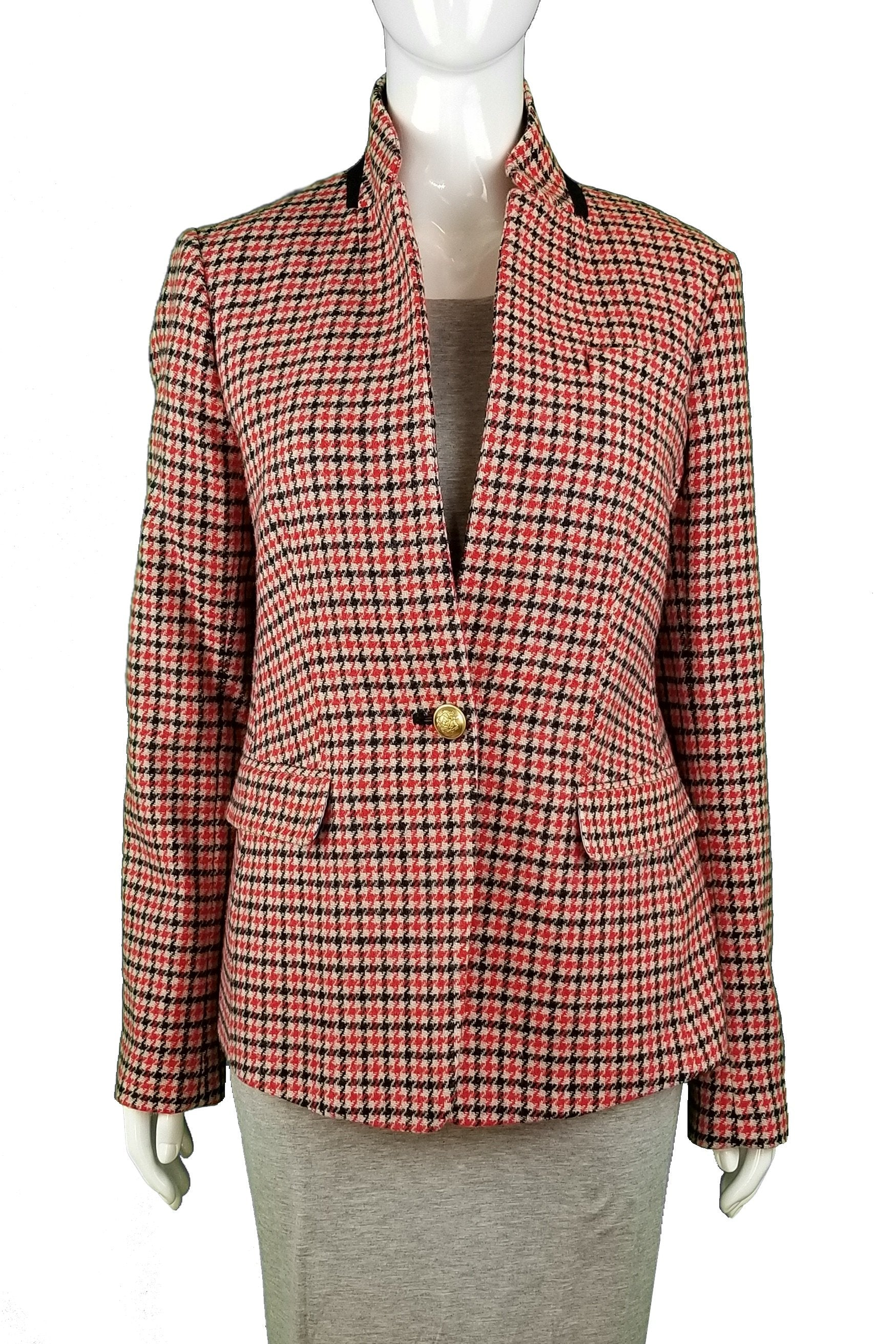 J Crew Plaid Wool Jacket, Any fashionable Boss Lady deserves an elegant and professional wool jacket., Red, 80% Wool, 20% Nylon, women's Jackets & Coats, women's Red Jackets & Coats, J Crew women's Jackets & Coats, women's jacket, women's thick jacket, women's fall jacket, women's spring jacket, women's plaid blazer