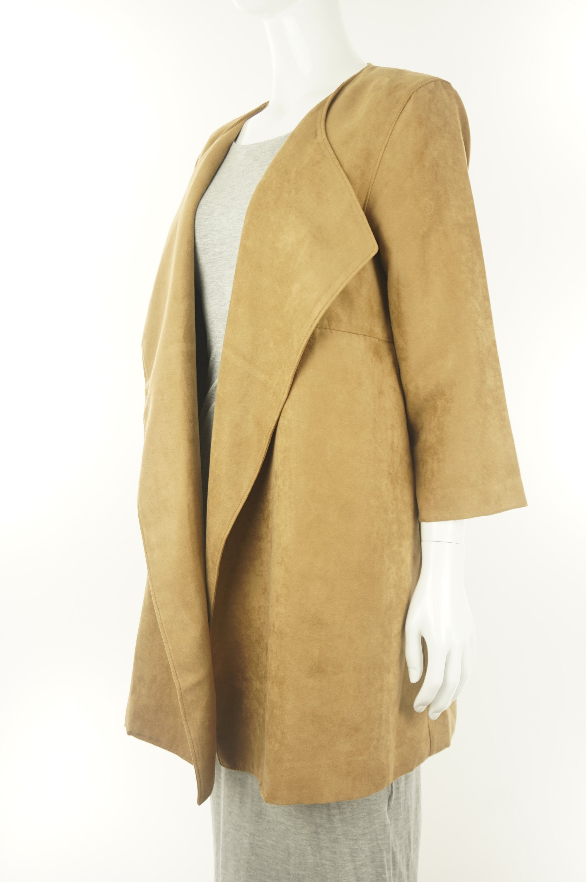 H&M Faux Suede Cardigan, The kind of cardigan you throw on super quickly before going out, just in case the weather is not as warm;), Brown, 100% polyester, women's Jackets & Coats, women's Brown Jackets & Coats, H&M women's Jackets & Coats, women's drape cardigan, women's long warm wool jacket, faux suede wrap coat, women's long waterfall drape sweater
