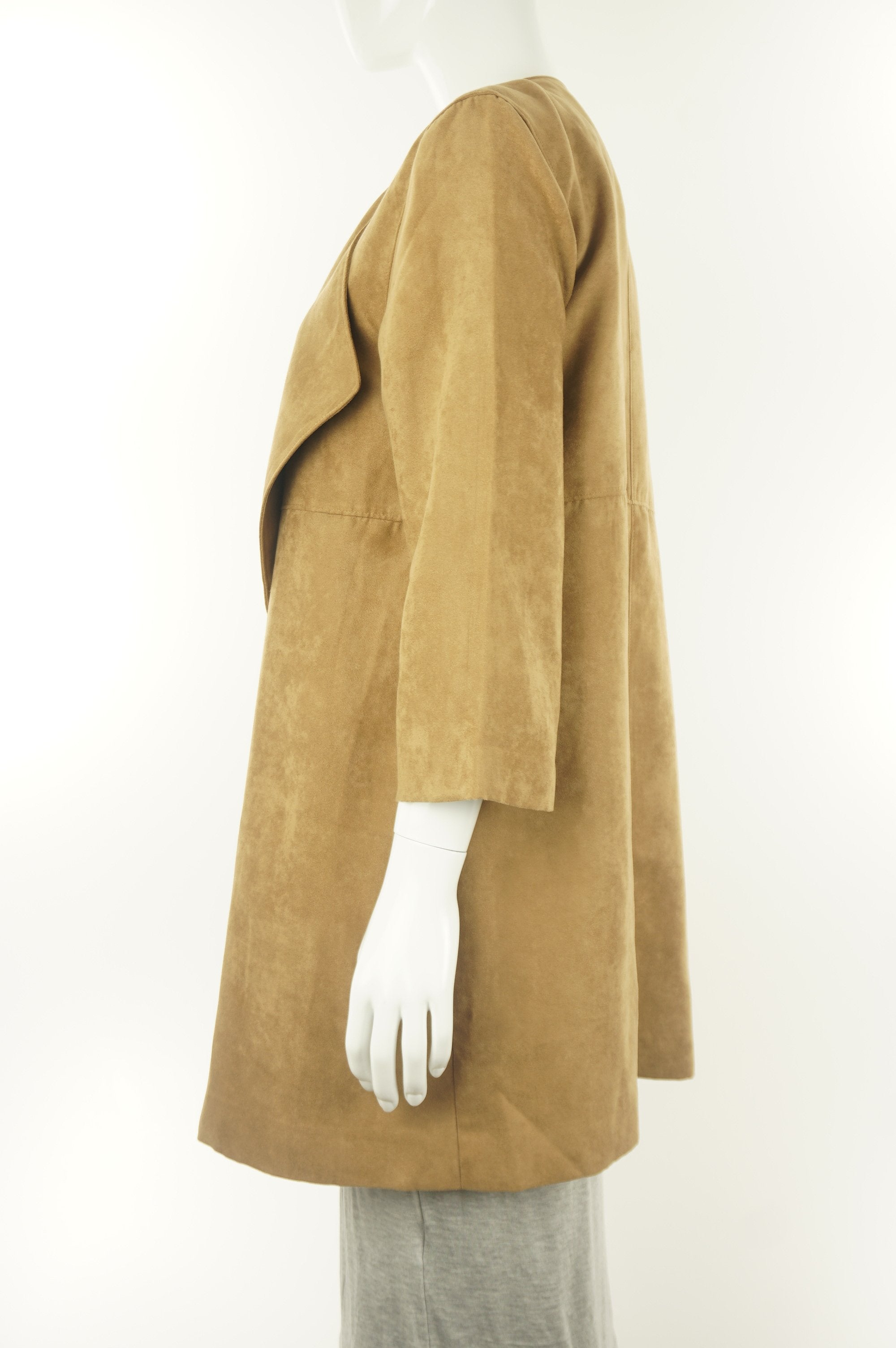 H&M Faux Suede Cardigan, The kind of cardigan you throw on super quickly before going out, just in case the weather is not as warm;), Brown, 100% polyester,
