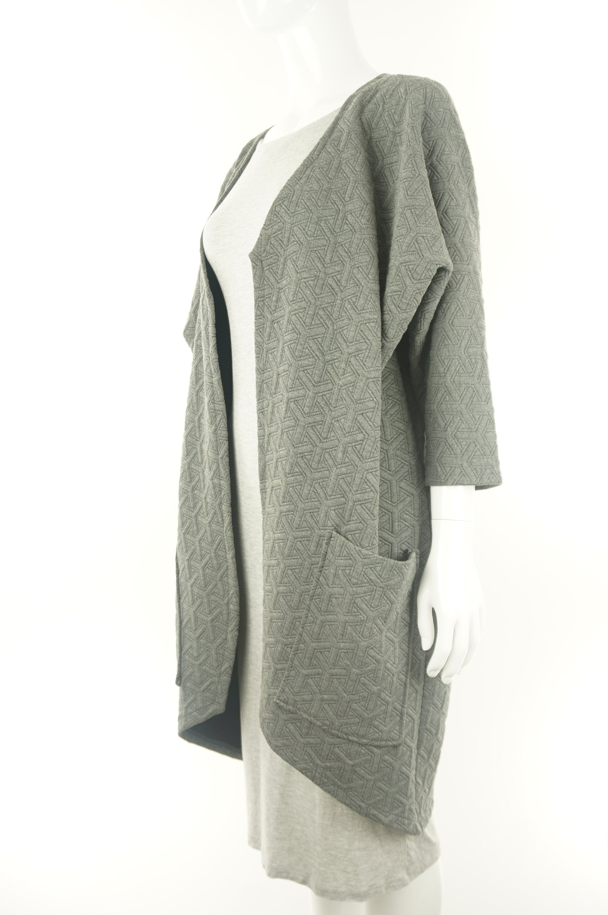 KAI&KLO Quilted Long Coat, Modern and minimal design. Made in Canada., Grey, Spandex, Rayon, polyester, women's Jackets & Coats, women's Grey Jackets & Coats, KAI&KLO women's Jackets & Coats, women's drape quilted coat, women's long warm flowy overcoat, faux suede waterfall sweater, women's long waterfall drape sweater, women's long drape outerwear