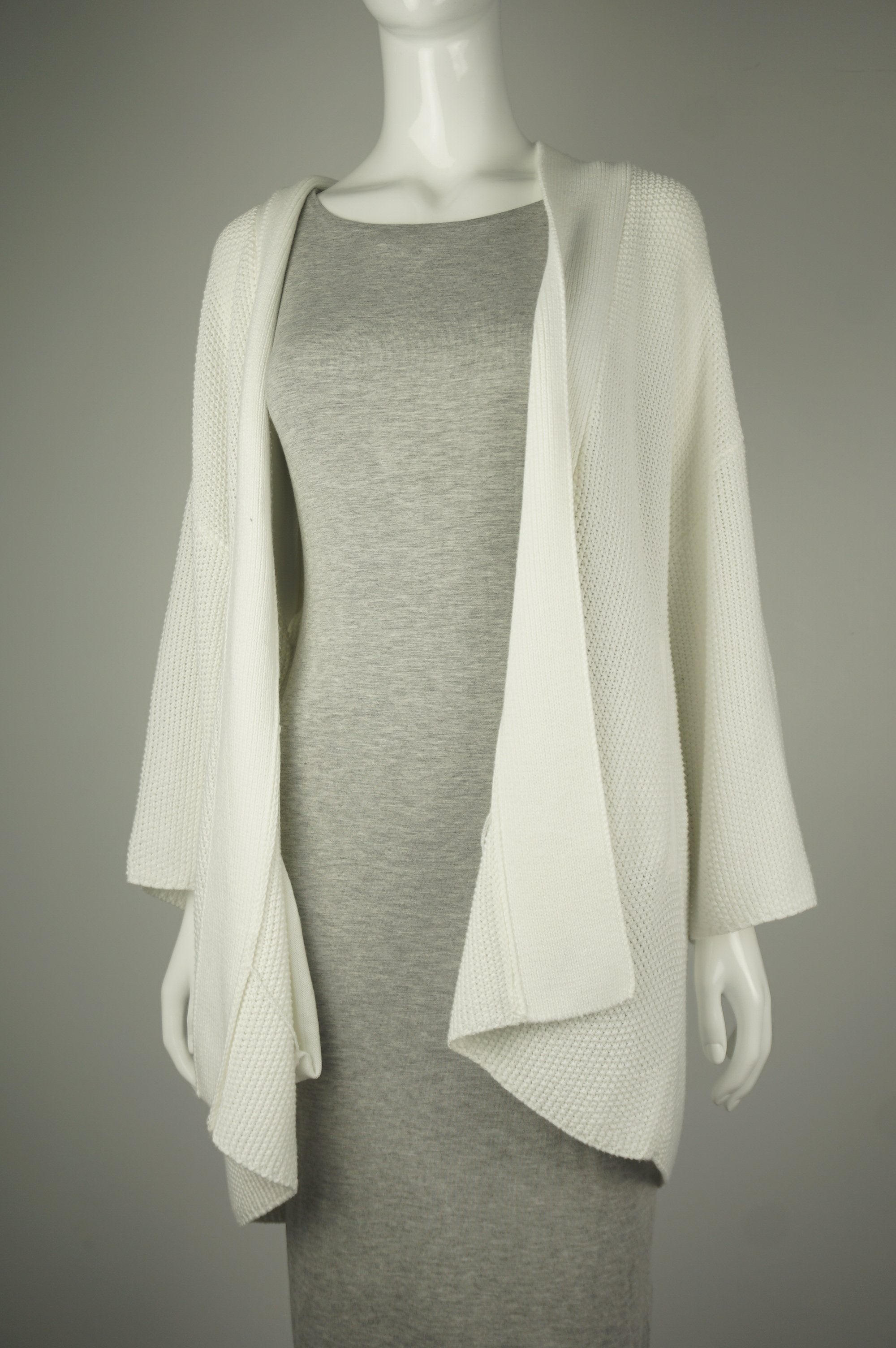 Oak + Fort White Cardigan, Simple and elegant white cardigan for the chilly office., White, 100% polyester, women's Jackets & Coats, women's White Jackets & Coats, Oak + Fort women's Jackets & Coats, Oak + Fort women's cardigan, women's simple cardigan, women's simple and white cardigan, women's drape jacket, women's drape coat