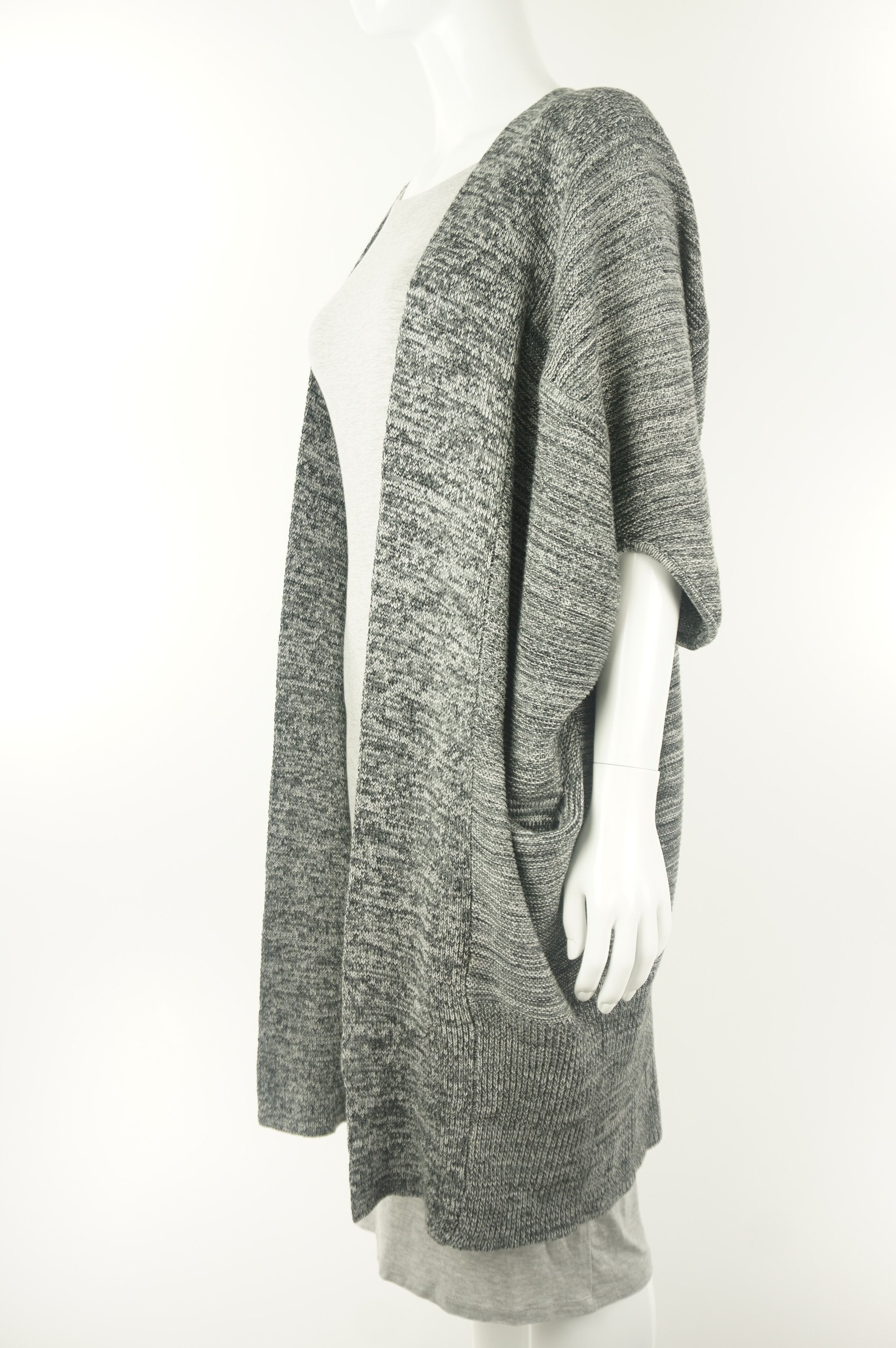 Babaton Long Cardigan, Relaxed open front cardigan made with silk and cashmere., Grey, 55% silk, 40 cotton, 5% cashmere, ,