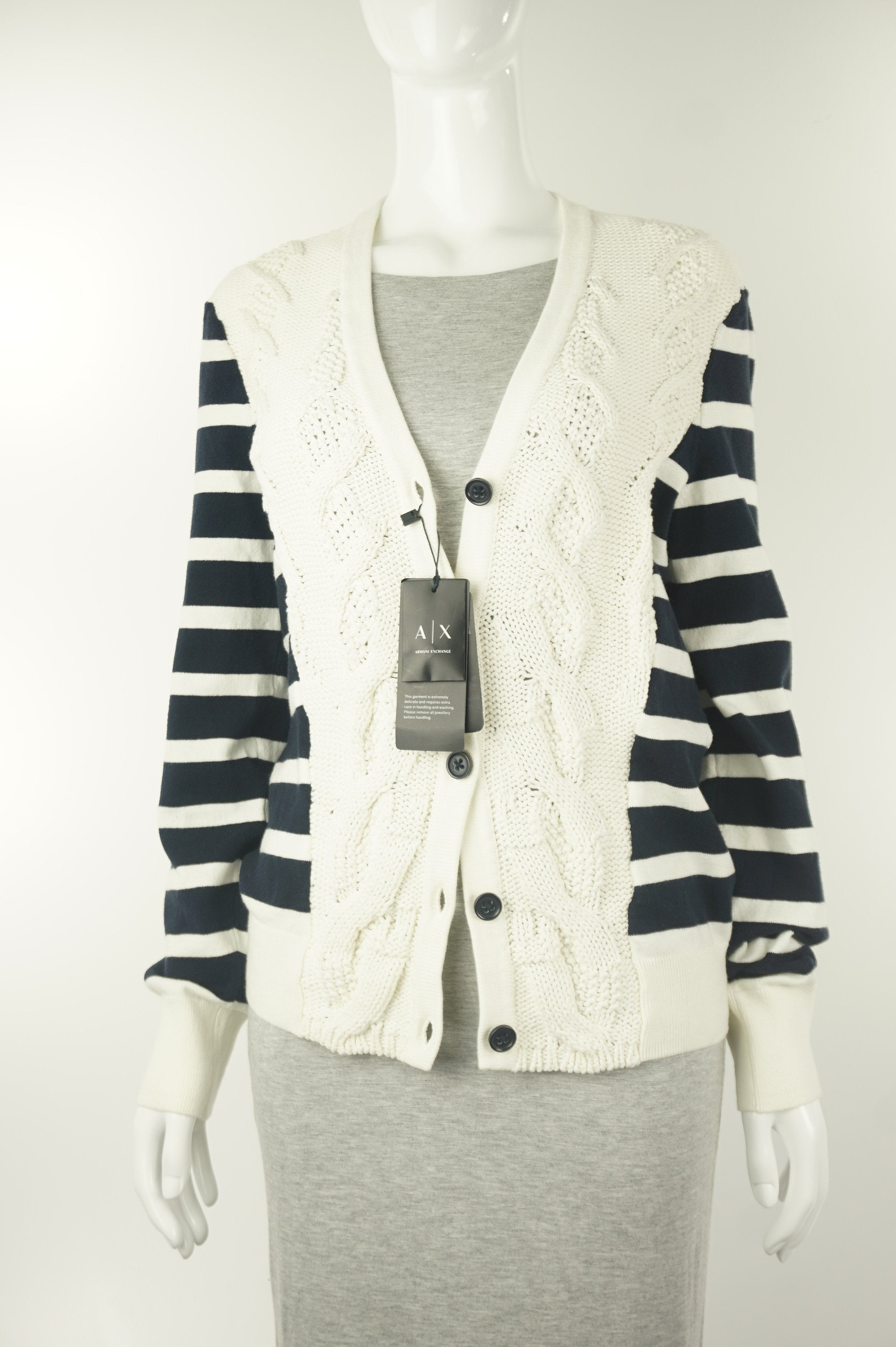 A|X Armani Exchange Short Cardigan, Knitted cardigan from A|X. Tag still on., Blue, White, 80% cotton, 18% polyamide, 2% elastane, women's Jackets & Coats, women's Blue, White Jackets & Coats, A|X Armani Exchange women's Jackets & Coats, armarni exchange cardigan, women's cardigan