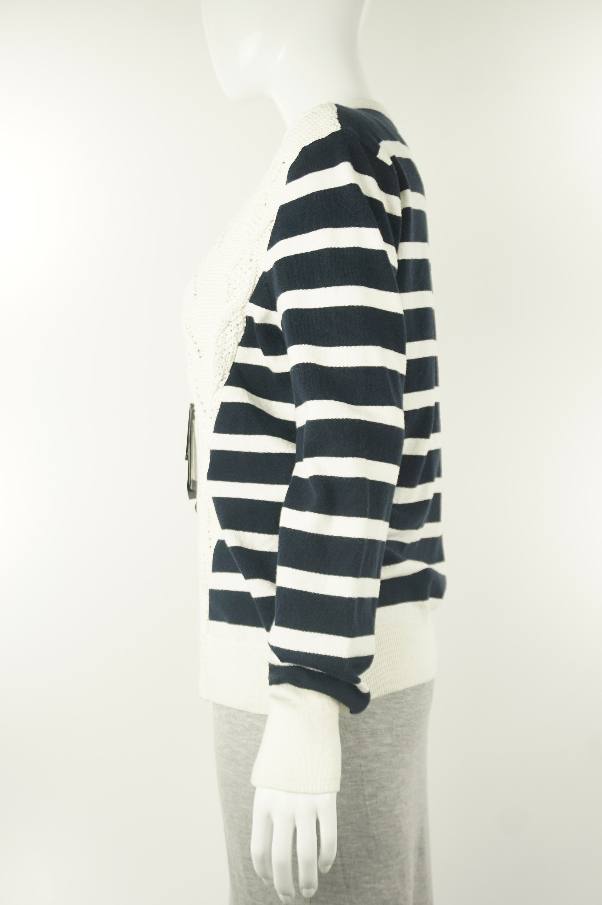 A|X Armani Exchange Short Cardigan, Knitted cardigan from A|X. Tag still on., Blue, White, 80% cotton, 18% polyamide, 2% elastane,