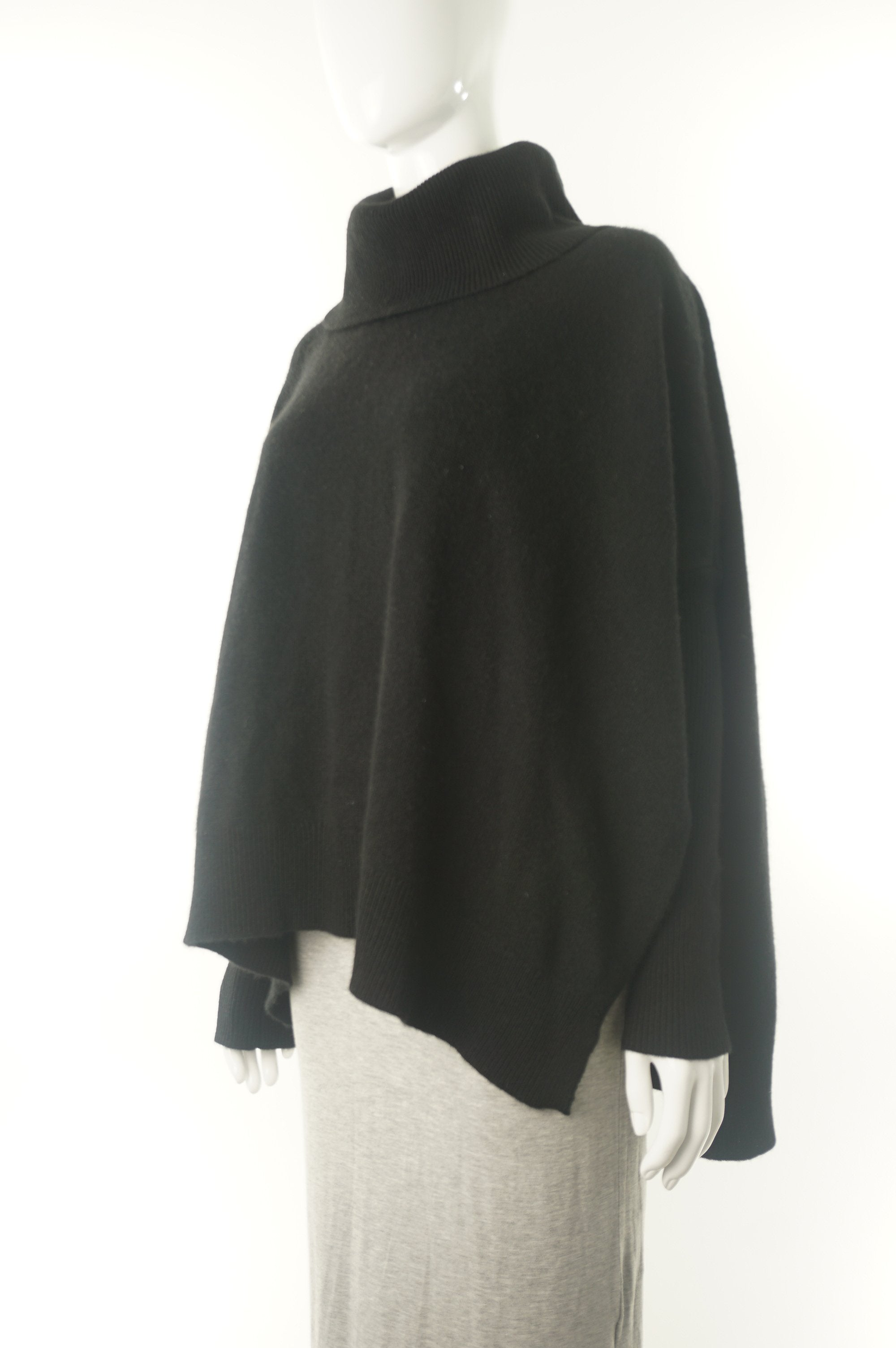Lord & Taylor Cashmere Cape Poncho, Super soft pullover for a warm and elegant look., Black, 100% Cashmere,