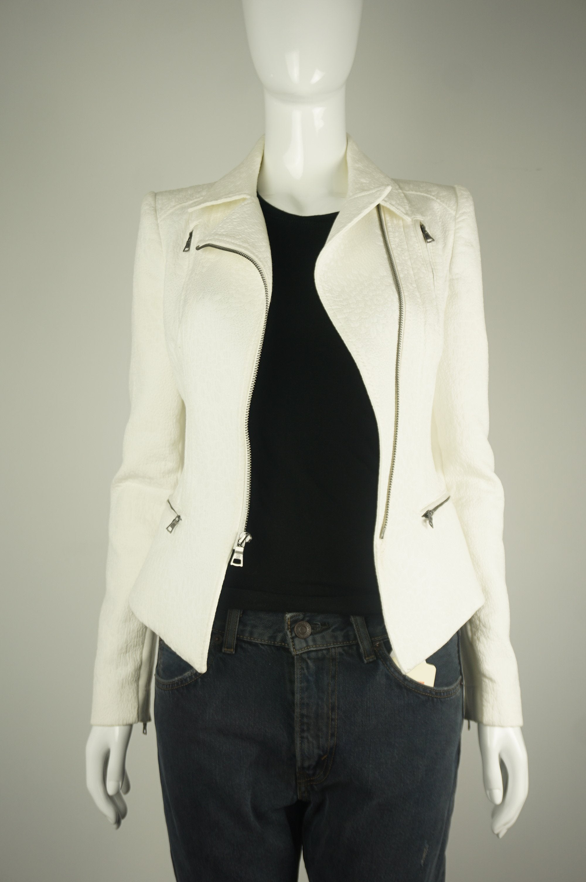BCBG MAXAZRIA White Blazer, Super flattering chic blazer with zipped front but also looks great open. , White, Shell: 62% cotton, 28% polyester., women's Jackets & Coats, women's White Jackets & Coats, BCBG MAXAZRIA women's Jackets & Coats, BCBG MAXAZRIA women's peplum blazer, women's professional stylish leather blazer, women's business jacket, women's fashionable professional blazer, women's fashionable white leather moto jacket