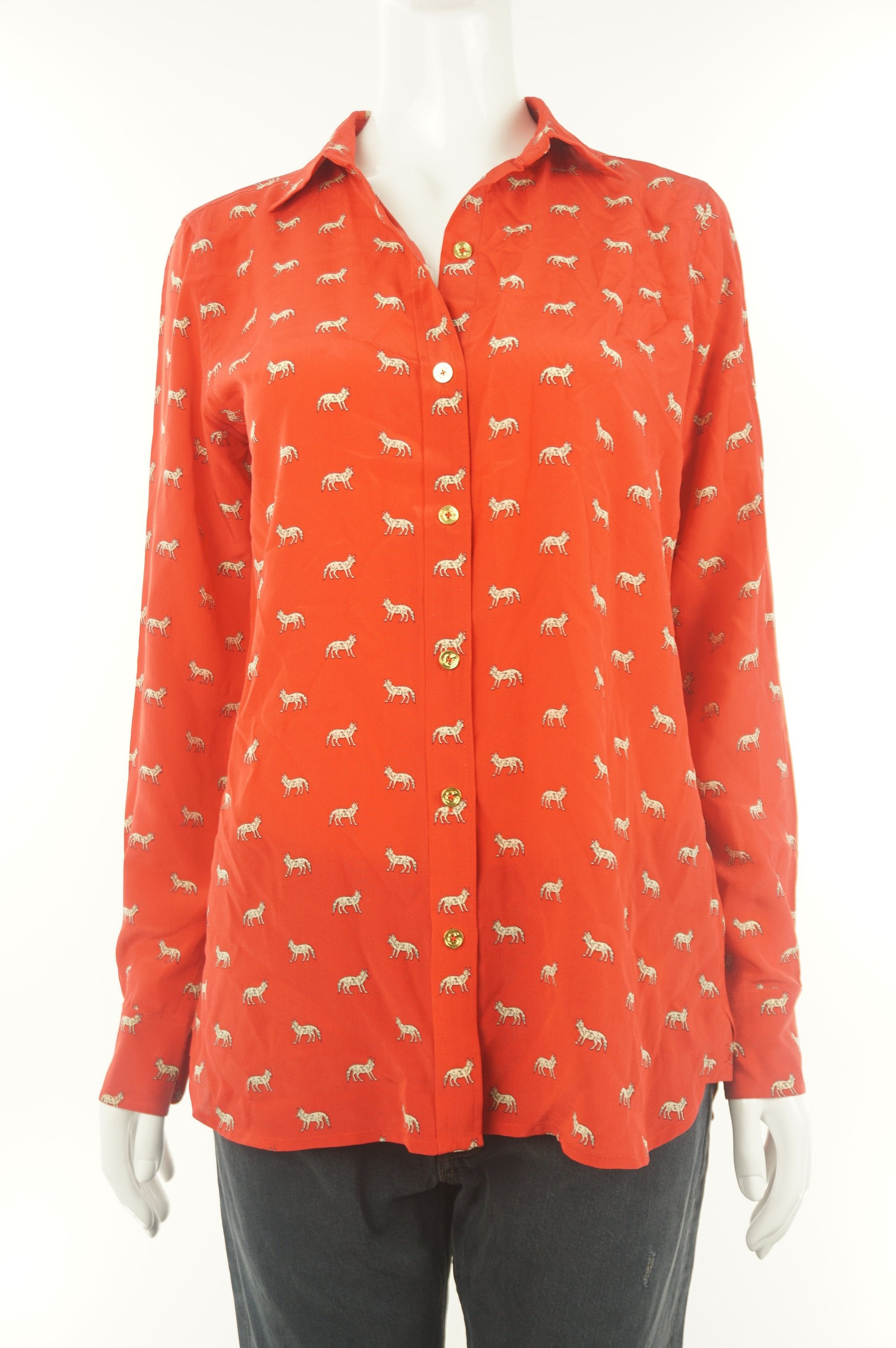 C. Wonder Silk Button Up Shirt Top, Pure silk shirt with cute animal print., Red, 100% silk, women's Tops, Jackets & Coats, women's Red Tops, Jackets & Coats, C. Wonder women's Tops, Jackets & Coats, women's silk shirt, women's button up shirt, women's button up loose fitting blouse
