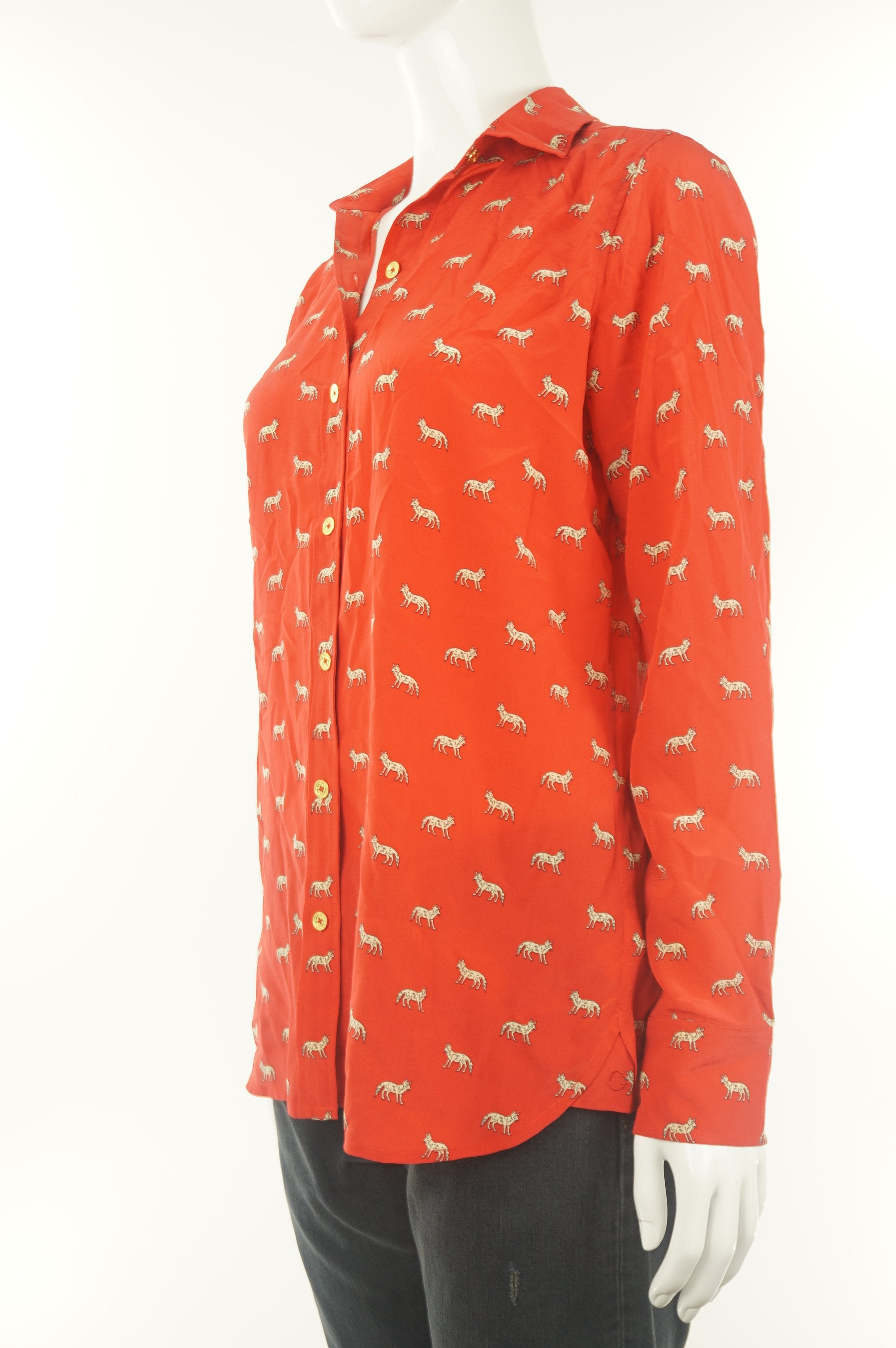 C. Wonder Silk Button Up Shirt Top, Pure silk shirt with cute animal print., Red, 100% silk,