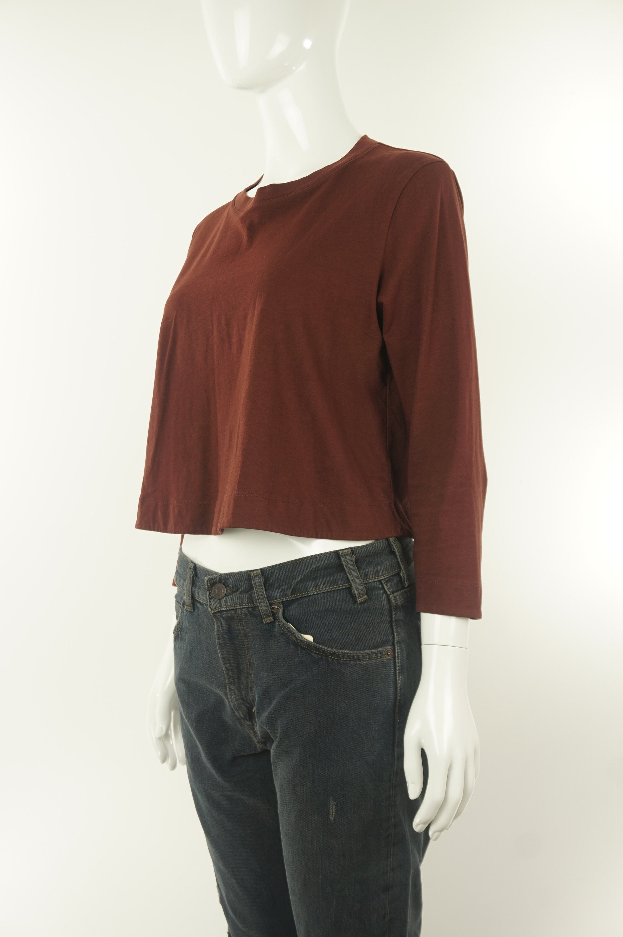 Wilfred Cute Comfy Burgundy Crop Top, If you believe in comfortable fashion that makes you look cute and not like you're trying so hard, this burgundy crop top is for you. , Red, 100% cotton,