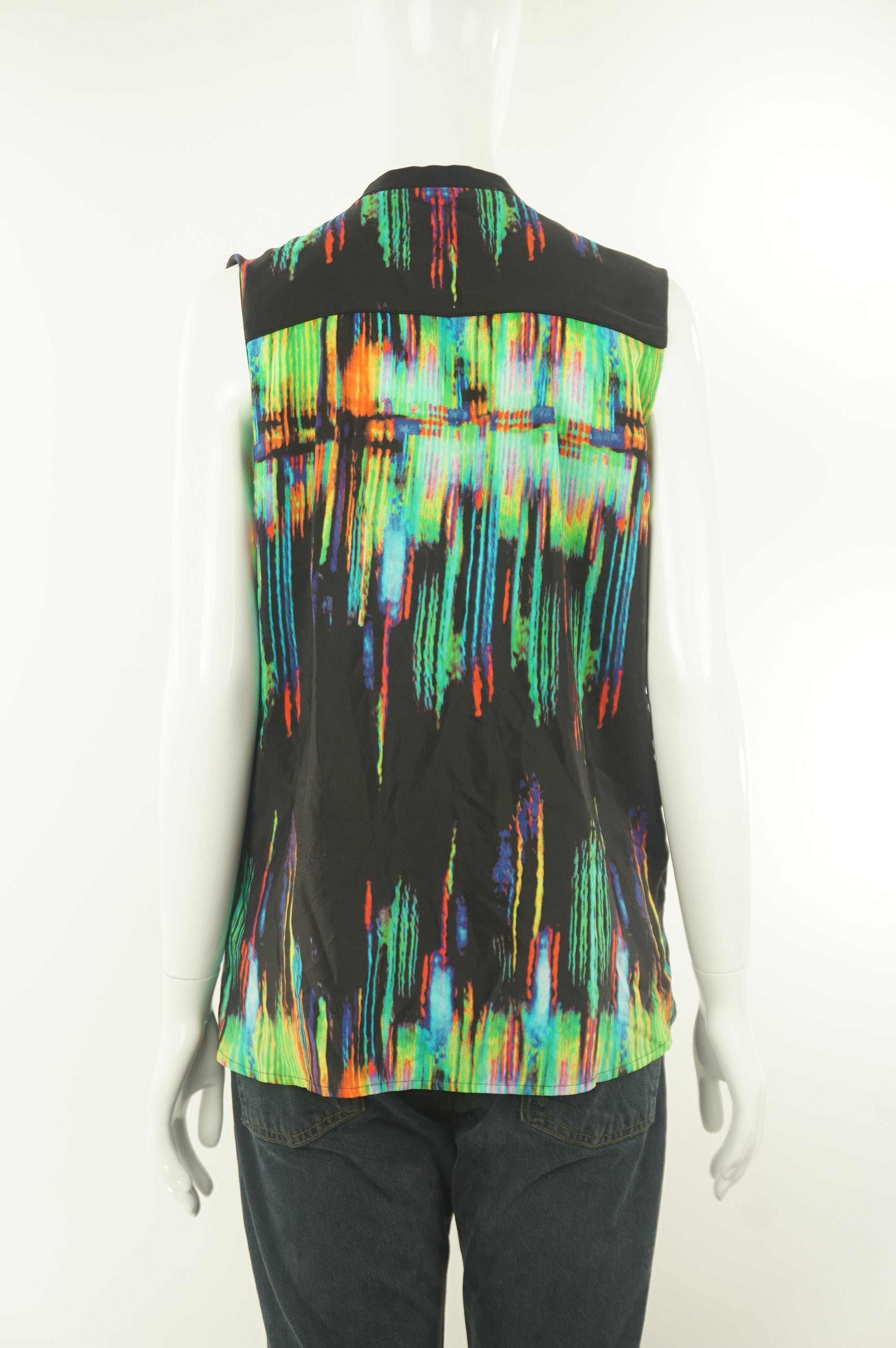 Belair Multi-colored Sleeveless Collar Shirt, Be loud yet simplistic with this unique multi-colored sleeveless collar shirt. , 0, Smooth and lightweight fabric,