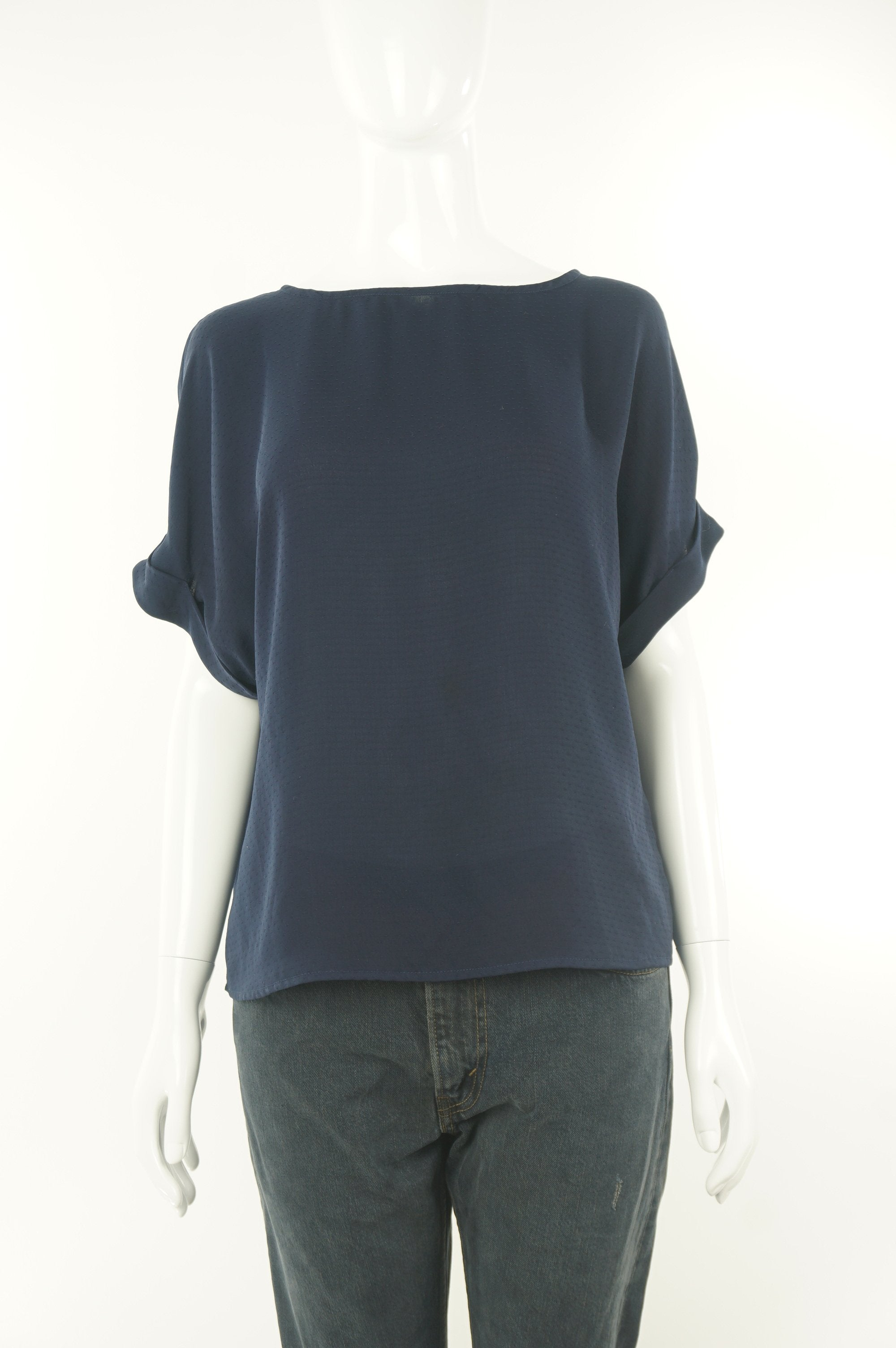 Dynamite Basic and comfy cuffed sleeve navy top, Add the casual and comfortable aspect to your work wardrobe with this cute cuffed sleeves shirt, Blue, 100% Polyester, women's Tops, women's Blue Tops, Dynamite women's Tops, dynamite dark blue top, women's navy blue blouse, women's shirt with folded short sleeves