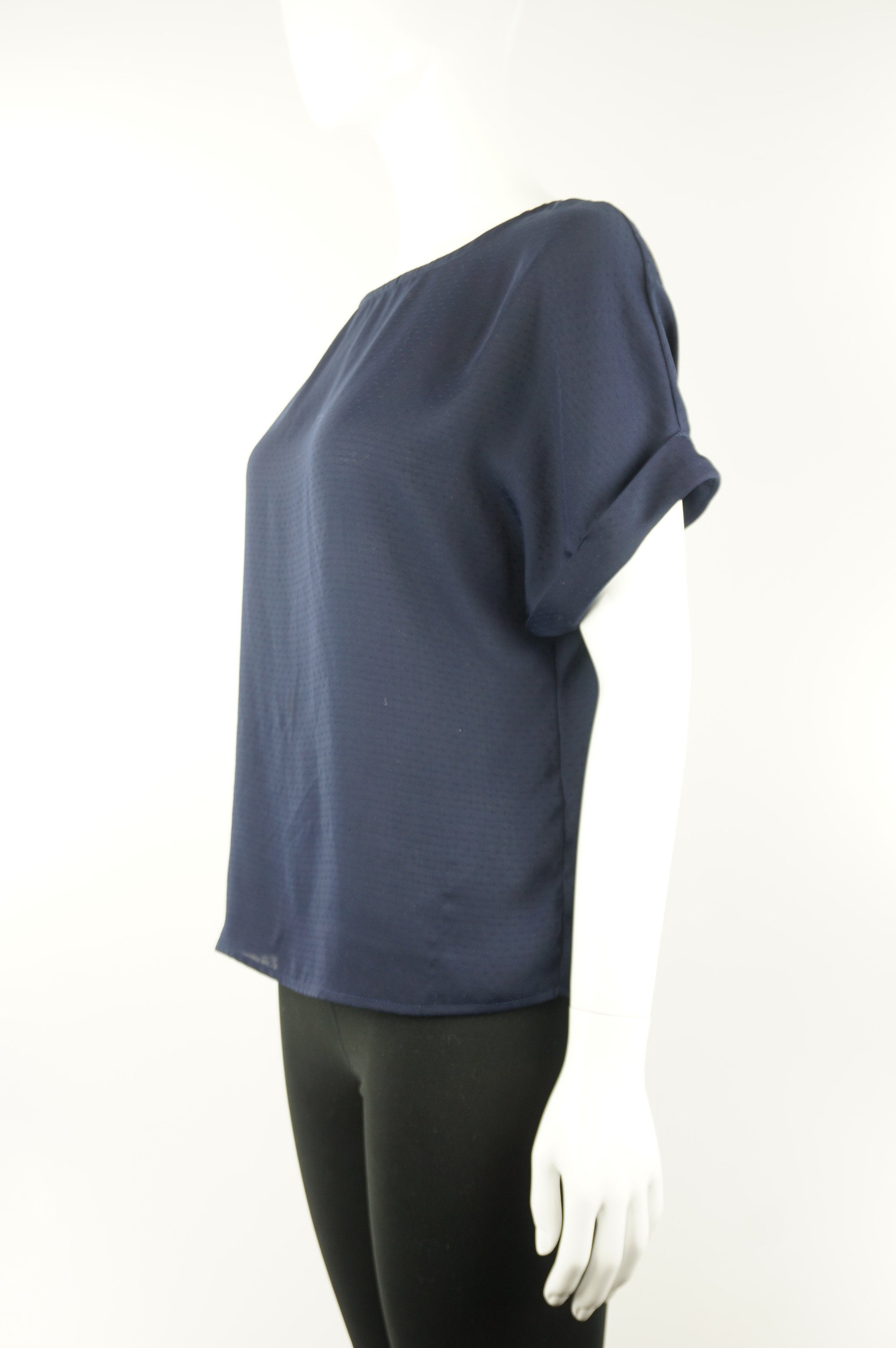 Dynamite Basic and comfy cuffed sleeve navy top, Add the casual and comfortable aspect to your work wardrobe with this cute cuffed sleeves shirt, Blue, 100% Polyester, women's Tops, women's Blue Tops, Dynamite women's Tops, dynamite dark blue top, women's simple top, women's shirt