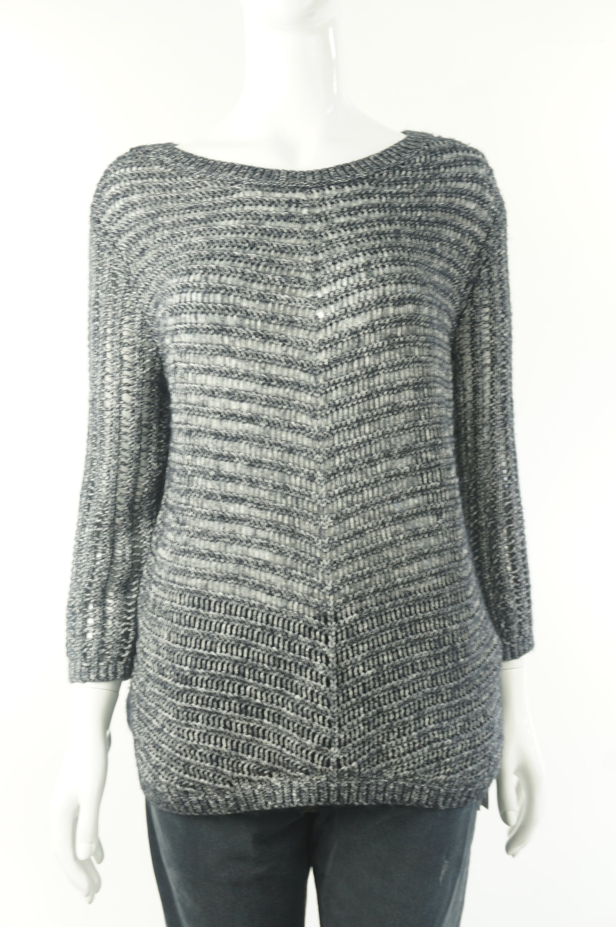 A|X Armani Exchange Loose Knit Pullover Sweater, Relaxed fit with dropped shoulder. A to go for everyday layering., Grey, 78% cotton, 22% acrylic, women's Tops, women's Grey Tops, A|X Armani Exchange women's Tops, Armarni exchange women's knitted sweater, women's knitted sweater for spring, Armani exchange loose knit sweater