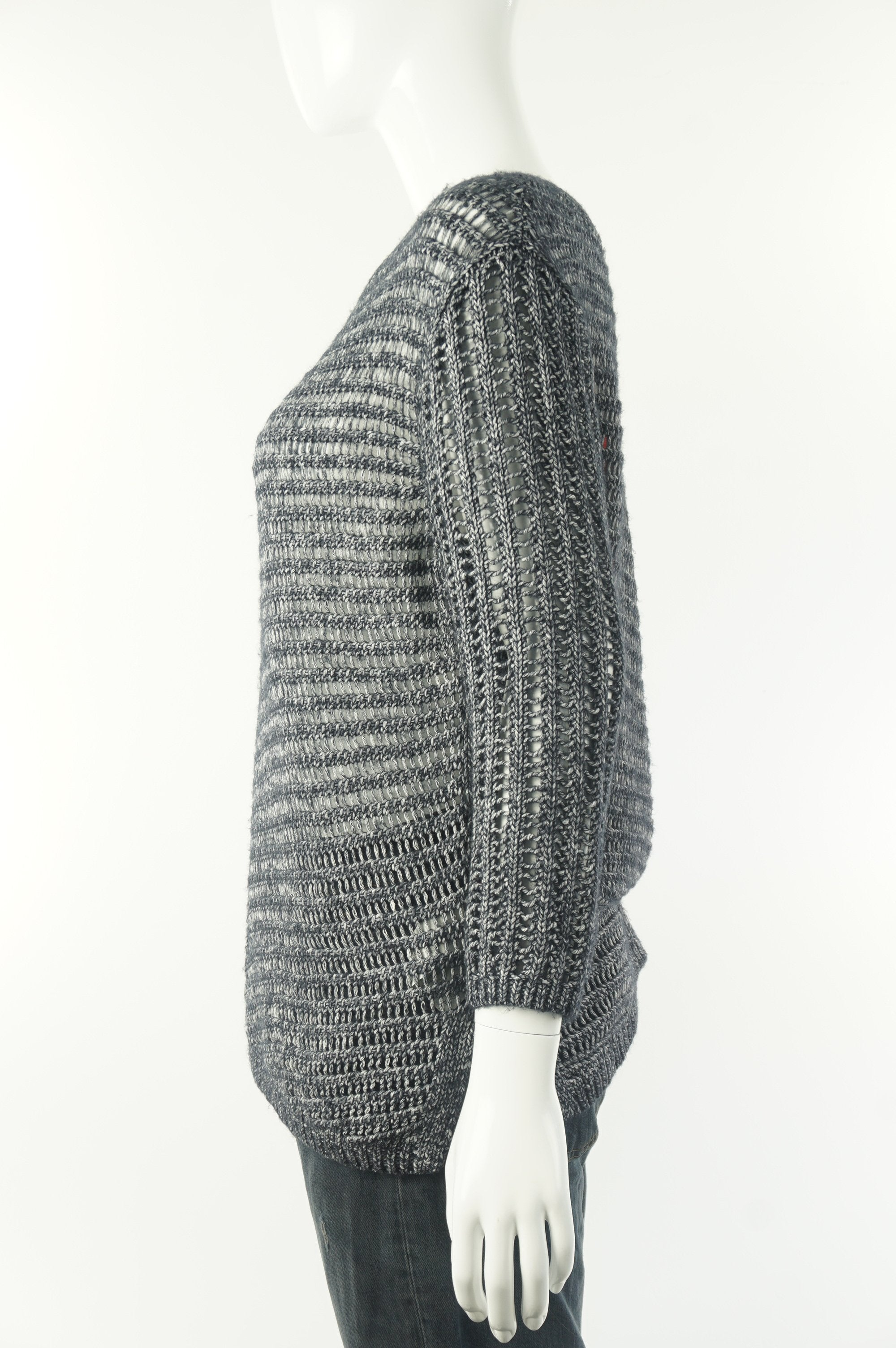 AX Amarni Exchange Loose Knit Pullover Sweater, Relaxed fit with dropped shoulder. A togo for everyday layering., Grey, 78% cotton, 22% acrylic, women's Tops, women's Grey Tops, AX Amarni Exchange women's Tops, Amarni exchange women's sweater, women's sweater for spring, amarni exchange loose knit sweater