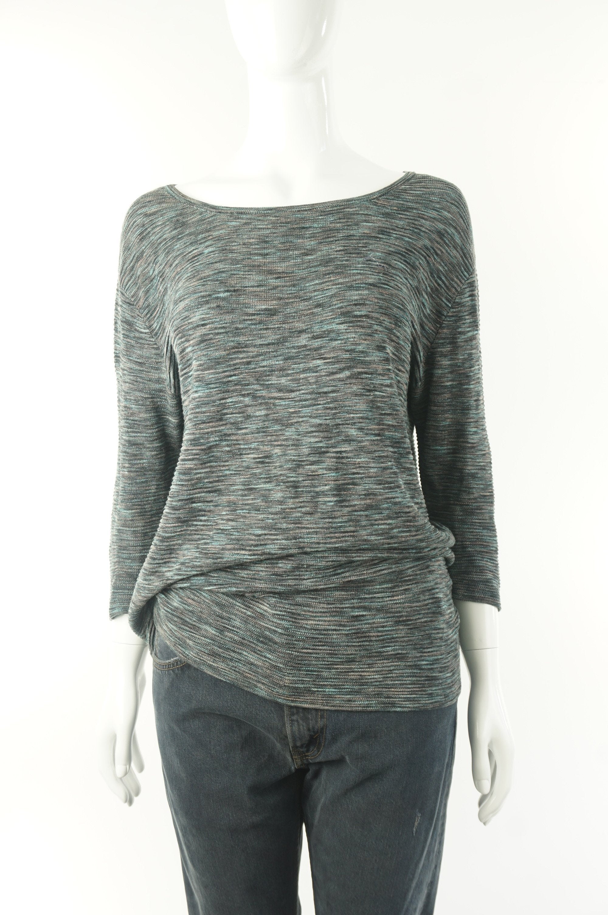 Wilfred Pullover Sweater, Relaxed fit with dropped shoulder. Perfect for everyday wear., Grey, Green, 68% viscose, 28% linen, 12% Nylon, women's Tops, women's Grey, Green Tops, Wilfred women's Tops, wilfred loose sweater, arizia women's loose fitting sweater, women's sweater, wilfred women's pullover
