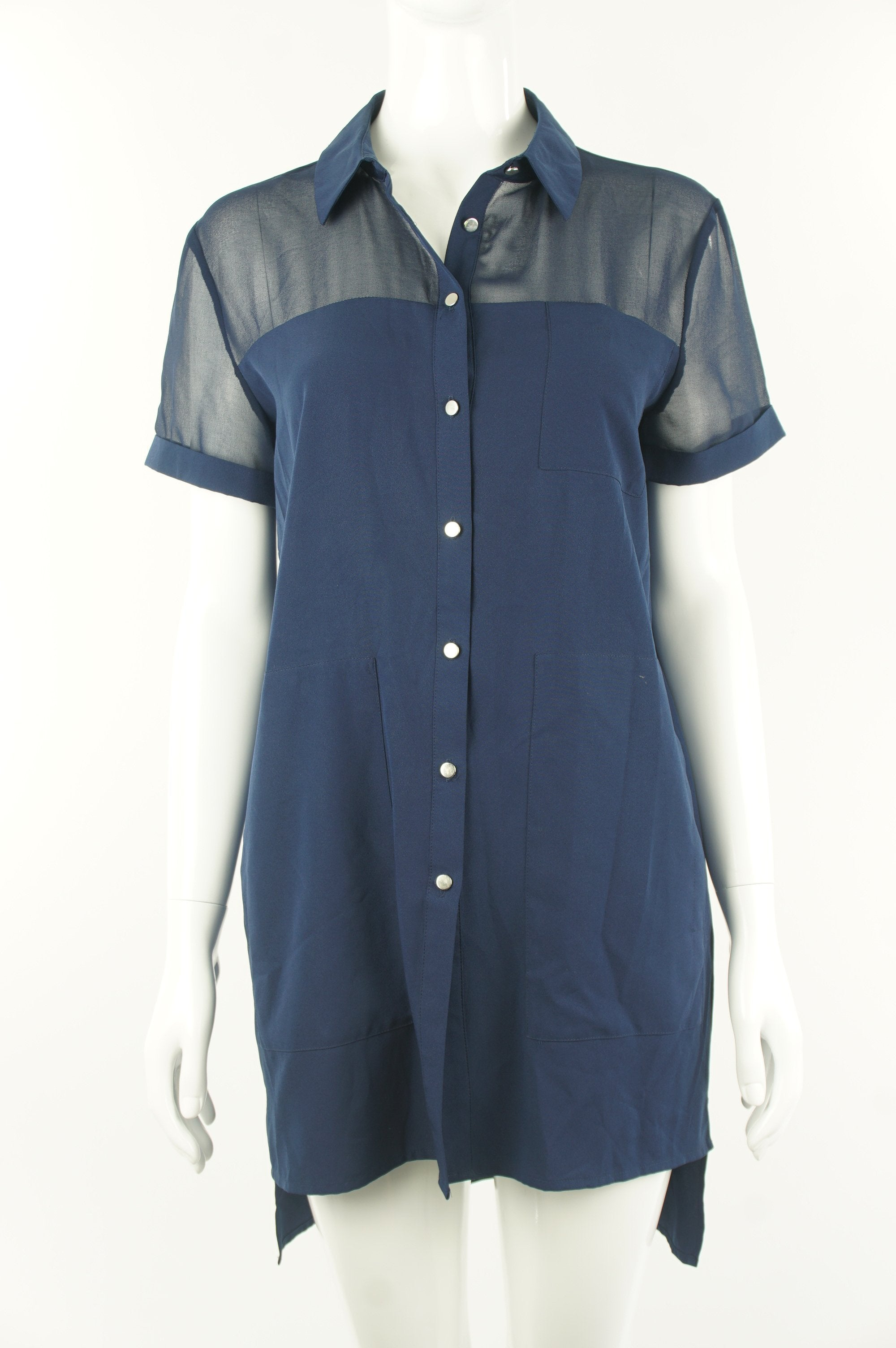Ever New Dark Blue Button Up Long Shirt with Pockets, Cute  button up long shirt, or shirt dress for the petite;) Sheer fabric on top adds a bit sexiness to the casual look., Blue, 100% polyester, women's Dresses & Rompers, Tops, women's Blue Dresses & Rompers, Tops, Ever New women's Dresses & Rompers, Tops, ever new button down shirt dress and see through shoulder, ever new women's blue long shirt, ever new women's stylish shirt