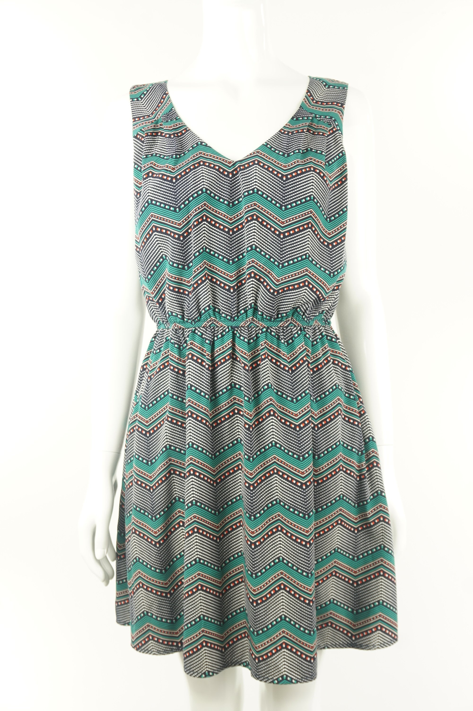 Amy Byer Chevron Midi Dress, Cute chevron pattern sleeveless dress with cutout design on back.  For the vibrant you and a vibrant summer day., Green, Blue, 100% polyester, women's Dresses & Rompers, women's Green, Blue Dresses & Rompers, Amy Byer women's Dresses & Rompers, women's midi dress with open back and zigzag patterns, women's sleeveless dress with open back zig zag patterns