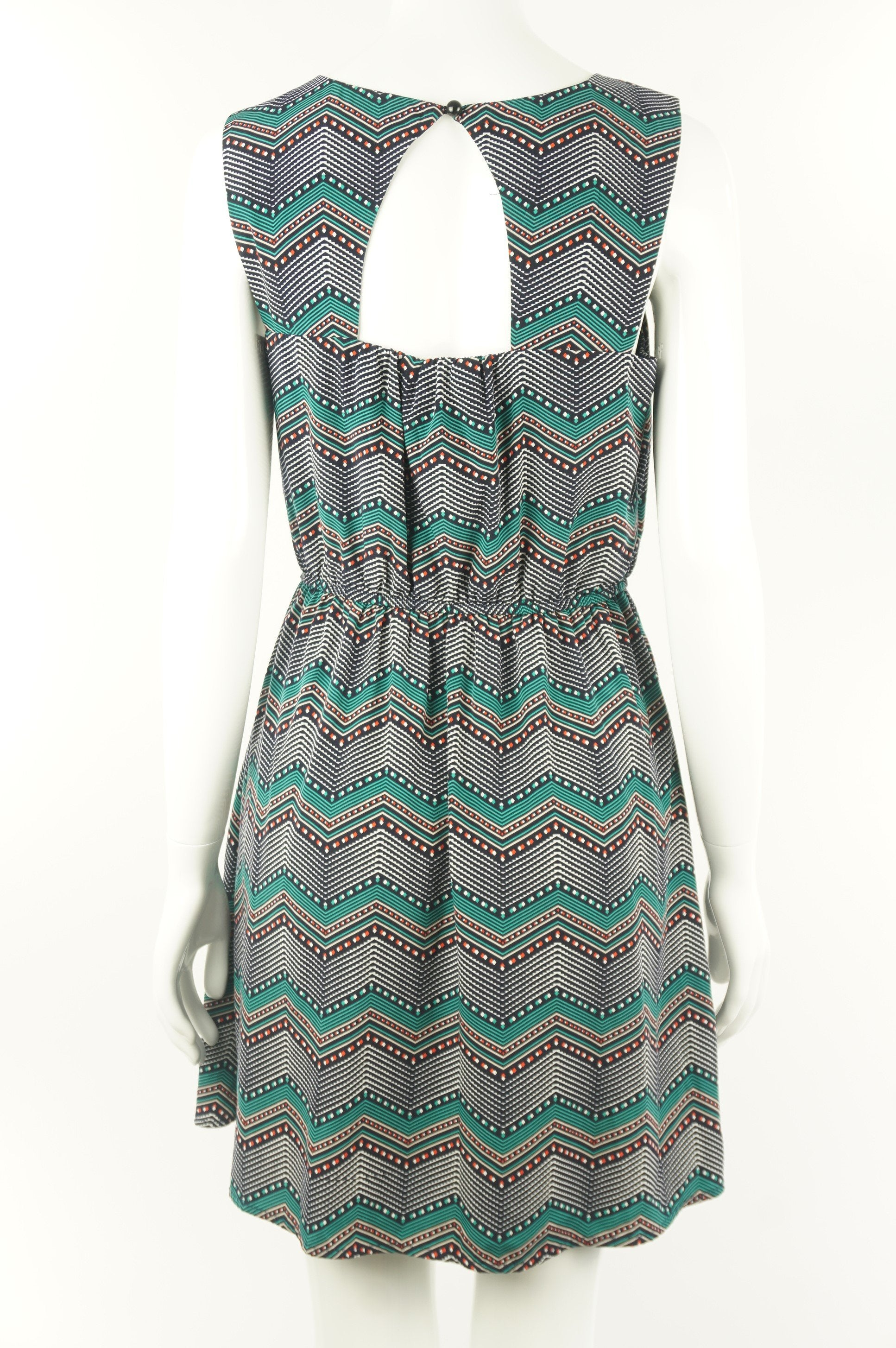 Amy Byer Chevron Midi Dress, Cute chevron pattern sleeveless dress with cutout design on back.  For the vibrant you and a vibrant summer day., Green, Blue, 100% polyester, women's Dresses & Skirts, women's Green, Blue Dresses & Skirts, Amy Byer women's Dresses & Skirts, women's midi dress, women's sleeveless dress