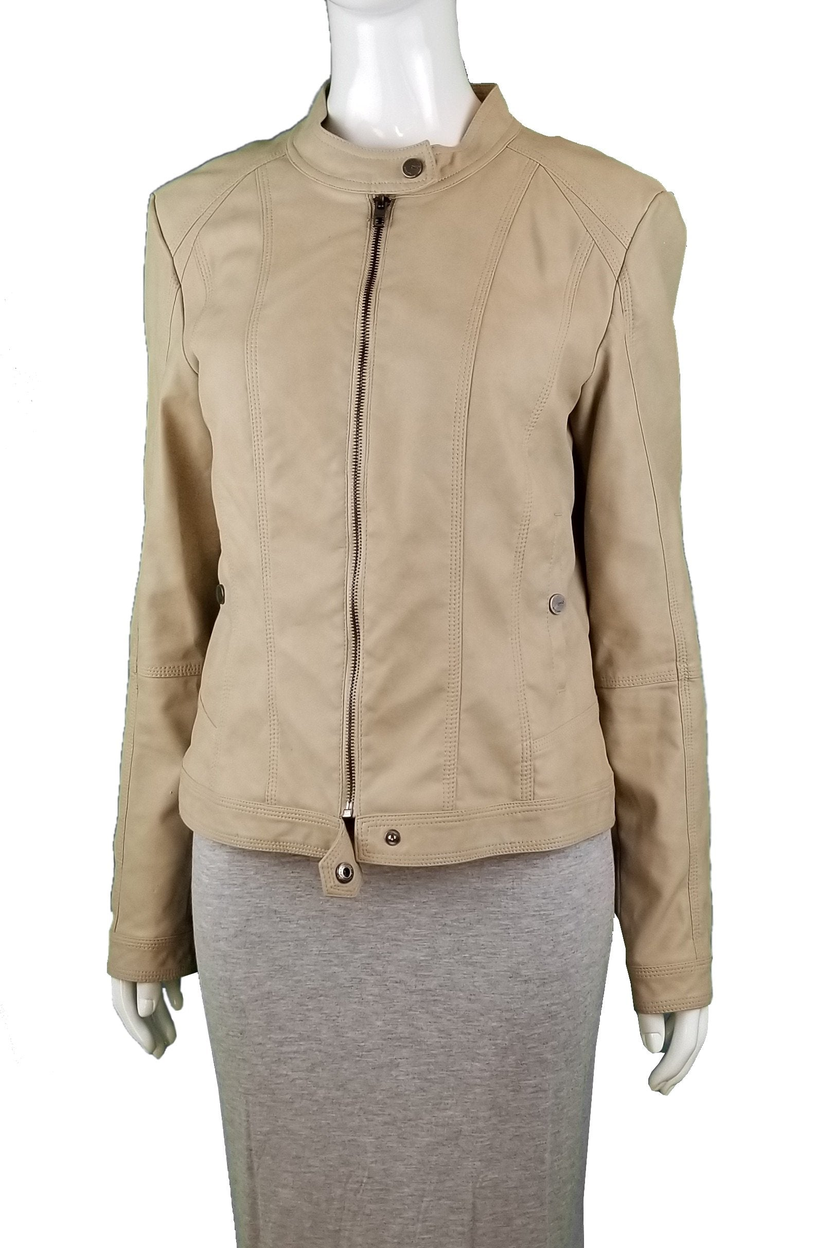 ONLY Faux Leather Jacket, Unique light color leather jacket, soft to the touch, Tan, Brown, Shell: 50% Polyurethane, 50% Viscose. Lining: 100% Polyester, women's Jackets & Coats, women's Tan, Brown Jackets & Coats, ONLY women's Jackets & Coats, women's leather moto jacket, ONLY women's jacket, women's leather coat