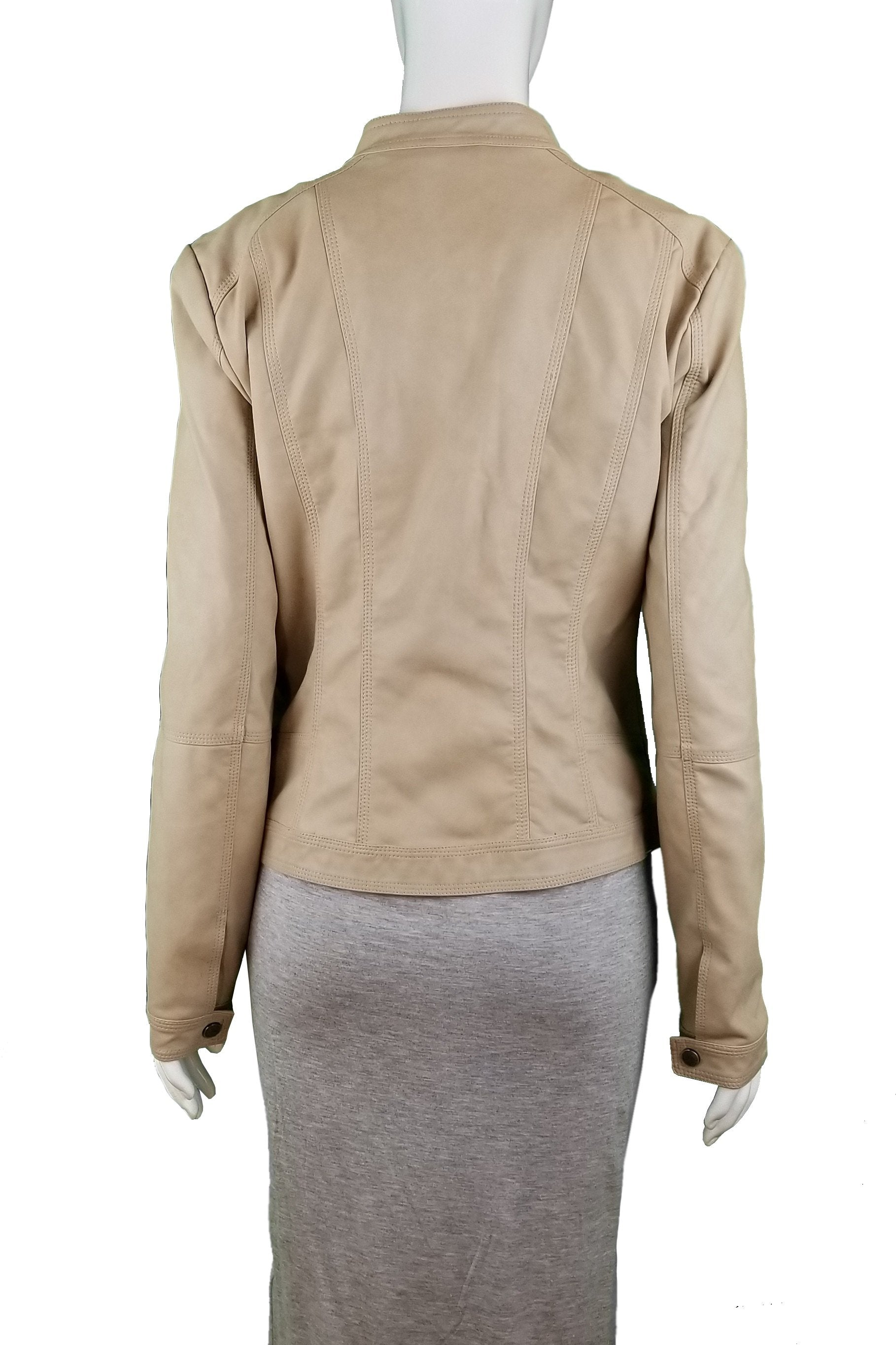 ONLY Faux Leather Jacket, Unique light color leather jacket, soft to the touch, Tan, Brown, Shell: 50% Polyurethane, 50% Viscose. Lining: 100% Polyester, women's Jackets & Coats, women's Tan, Brown Jackets & Coats, ONLY women's Jackets & Coats, women's leather jacket, ONLY women's jacket, women's coat