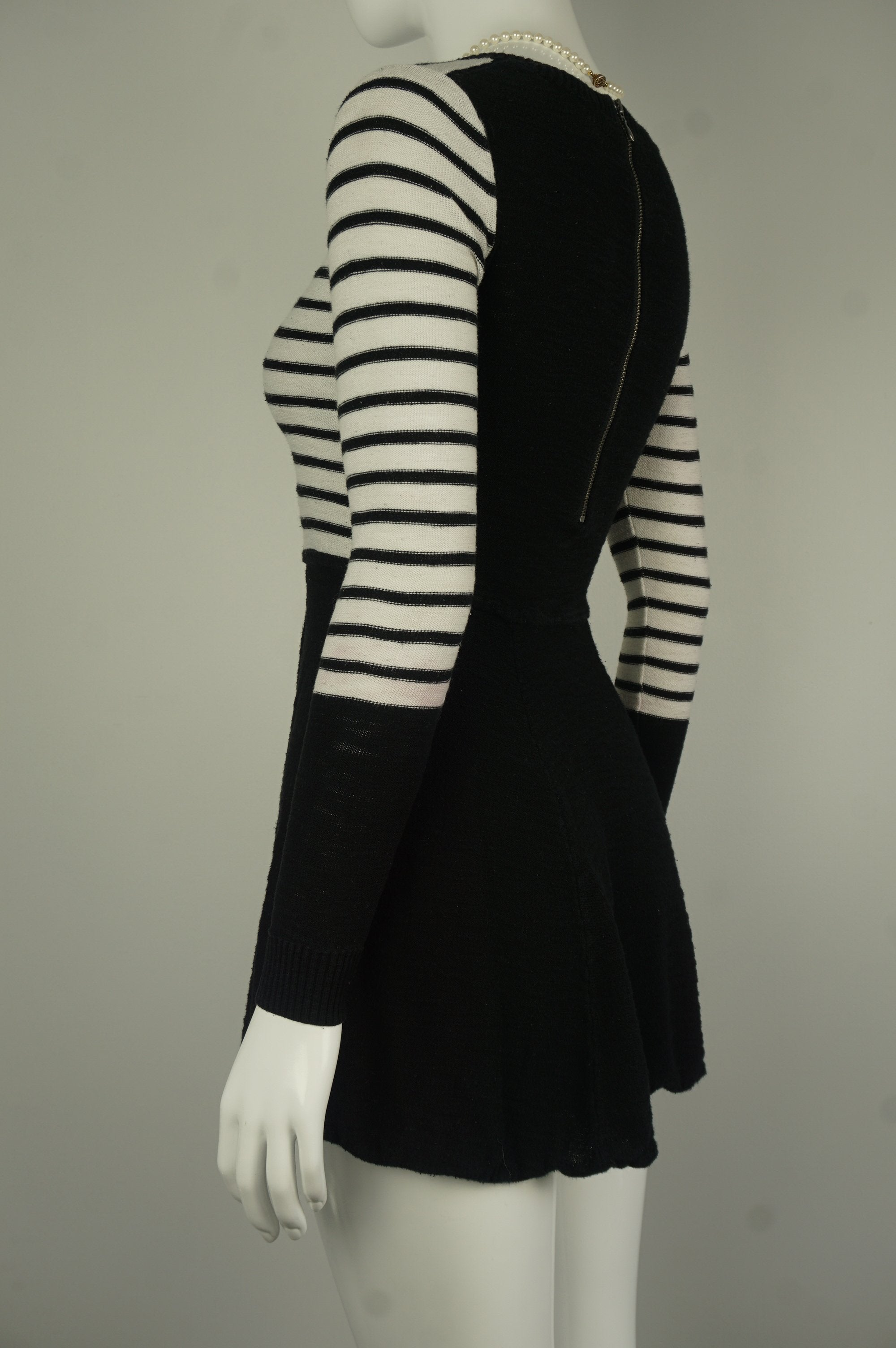 Express Zipper Back Black and White Striped Flare Dress with Long Sleeves, Stripes go with everything and they definitely work well with this black and white business casual winter dress. , Black, White, Warm and stretchy material, women's Dresses & Skirts, women's Black, White Dresses & Skirts, Express women's Dresses & Skirts, Black and White striped flare dress, long sleeves mini dress, warm winter dress