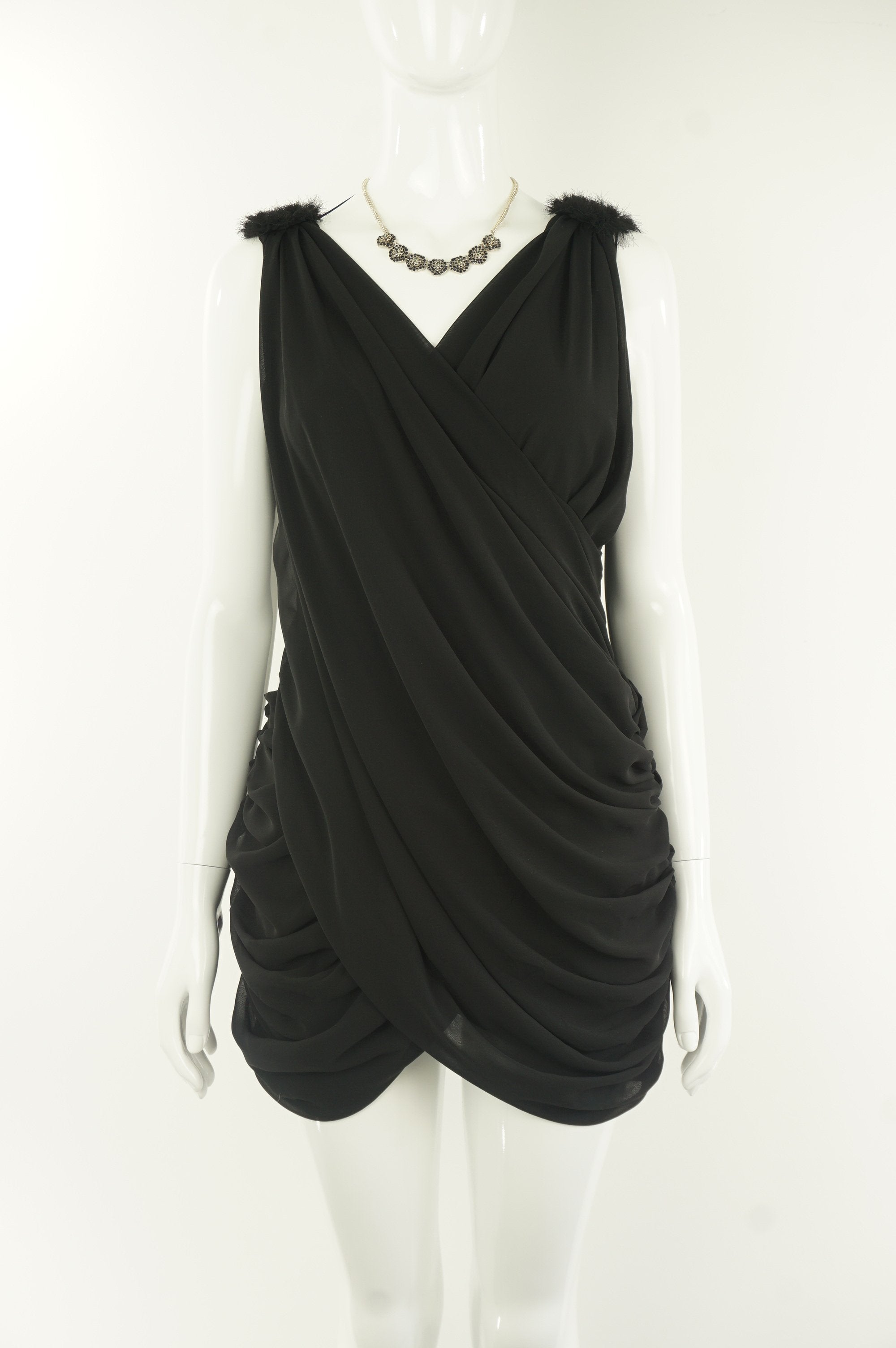 Sievergute Crossed Deep V-Neck Cocktail Dress , Sexy crossed deep V-neck cocktail black dress that makes head turn at any night parties, Black, Soft Flowy Fabric, women's Dresses & Rompers, women's Black Dresses & Rompers, Sievergute women's Dresses & Rompers, Sexy women's cocktail black wrap asymetrical dress, crossed wrap around deep V-neck open back asymetrical dress, women's party short wrap around dress
