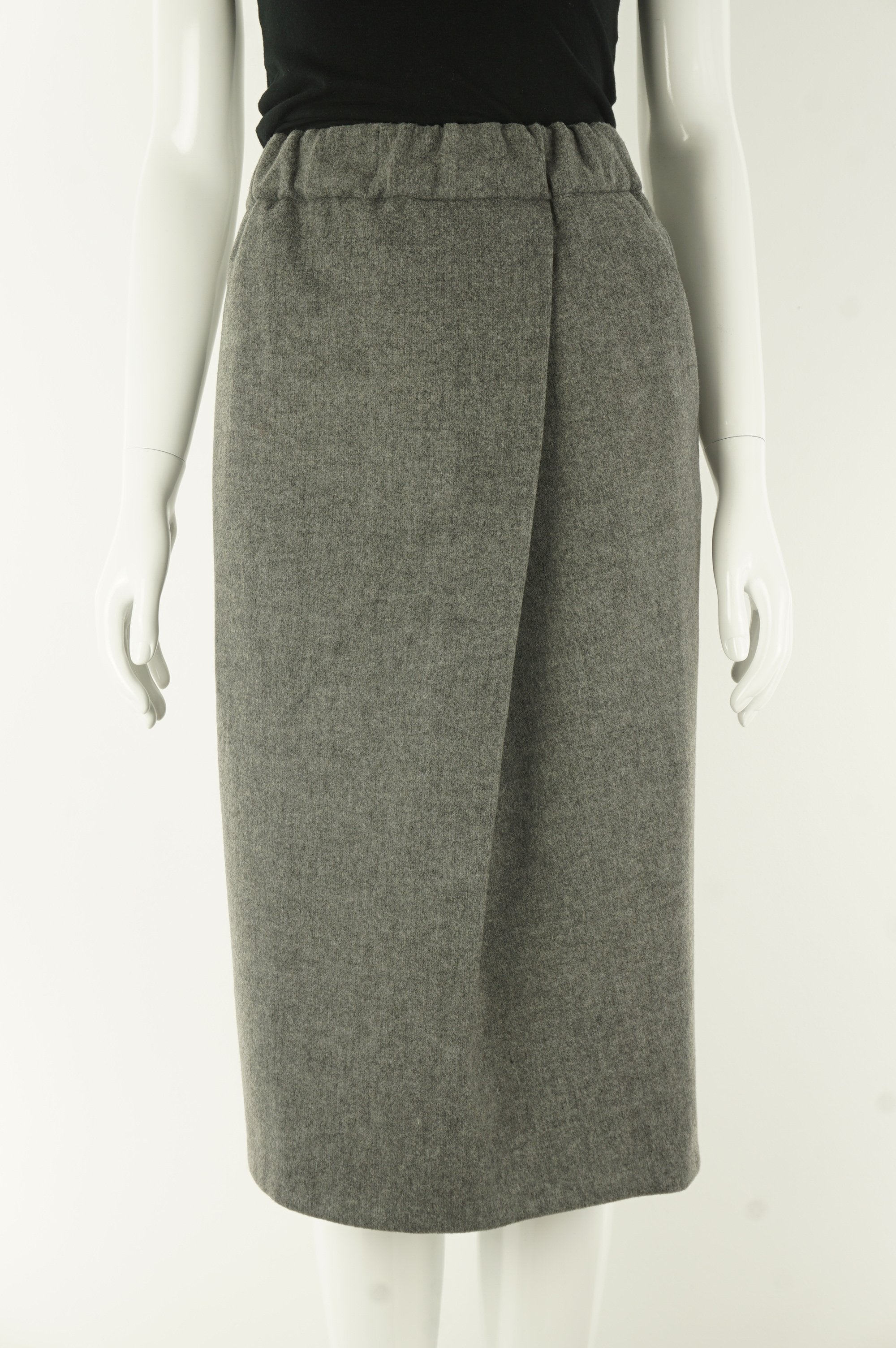 Le Fou Wilfred Wool Winter Pencil Skirt, Sitting in the office the whole day but still have to embrace the cold while walking to lunch? This wool skirt covers it all. Not even mentioning the comfortable elastic waistband!, Grey, 43% Polyester, 22% wool, 19% viscose, 7% polyamide, 6% cotton, 3% elastane, women's Skirts & Shorts, women's Grey Skirts & Shorts, Le Fou Wilfred women's Skirts & Shorts, women's winter warm wrap skirt, Aritzia women's wool wrap skirt
