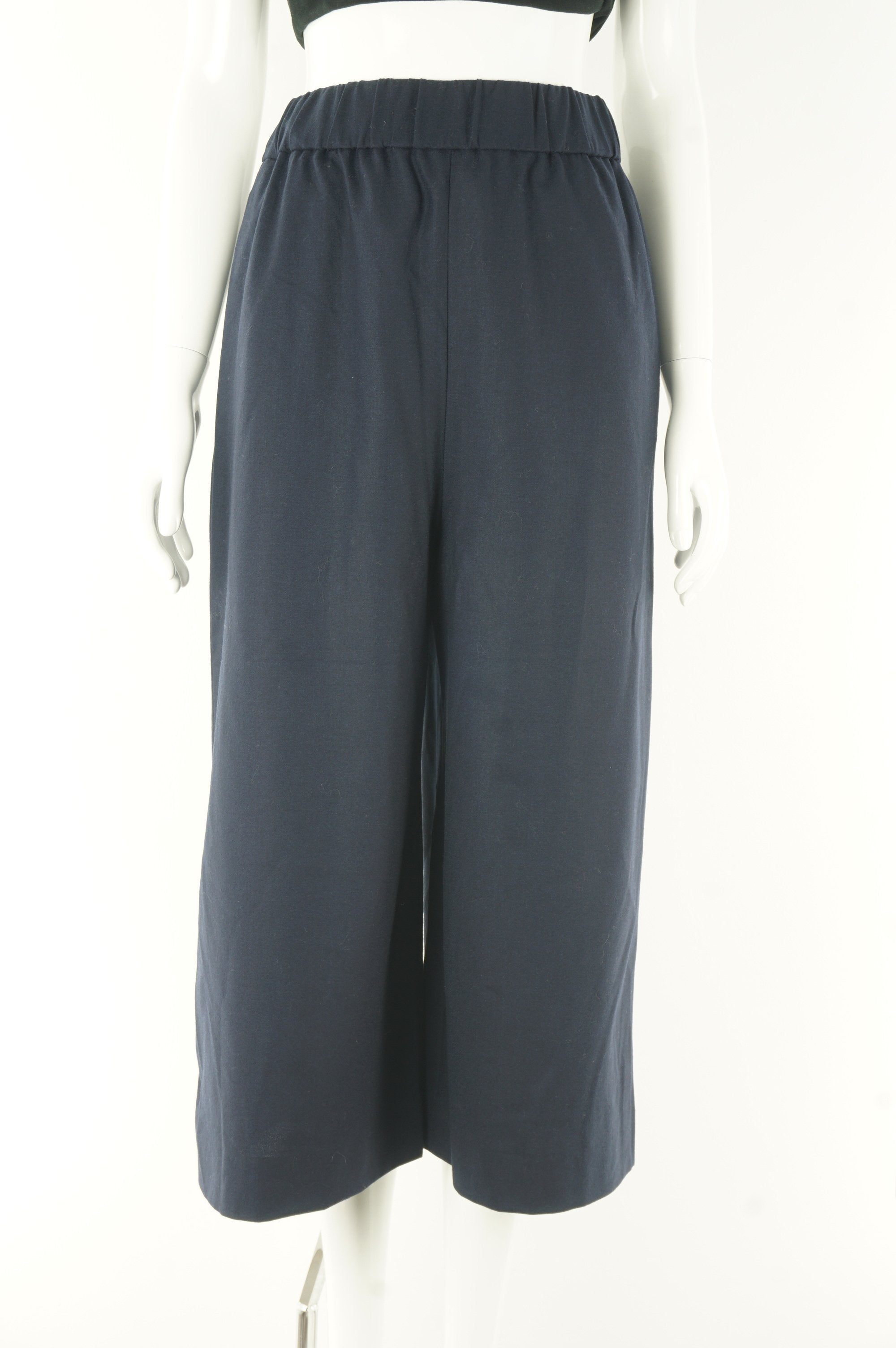 COS Wide Leg Pants With Elastic Waistband, The wide legs and the elastic waist band SCREAMS comfortableness! All natural wool material also guarantees warmth for the winter months., Blue, 96% Wool, 4% Elastane, women's Pants, women's Blue Pants, COS women's Pants, Women's wide legged capri pants, women's wool capri trousers