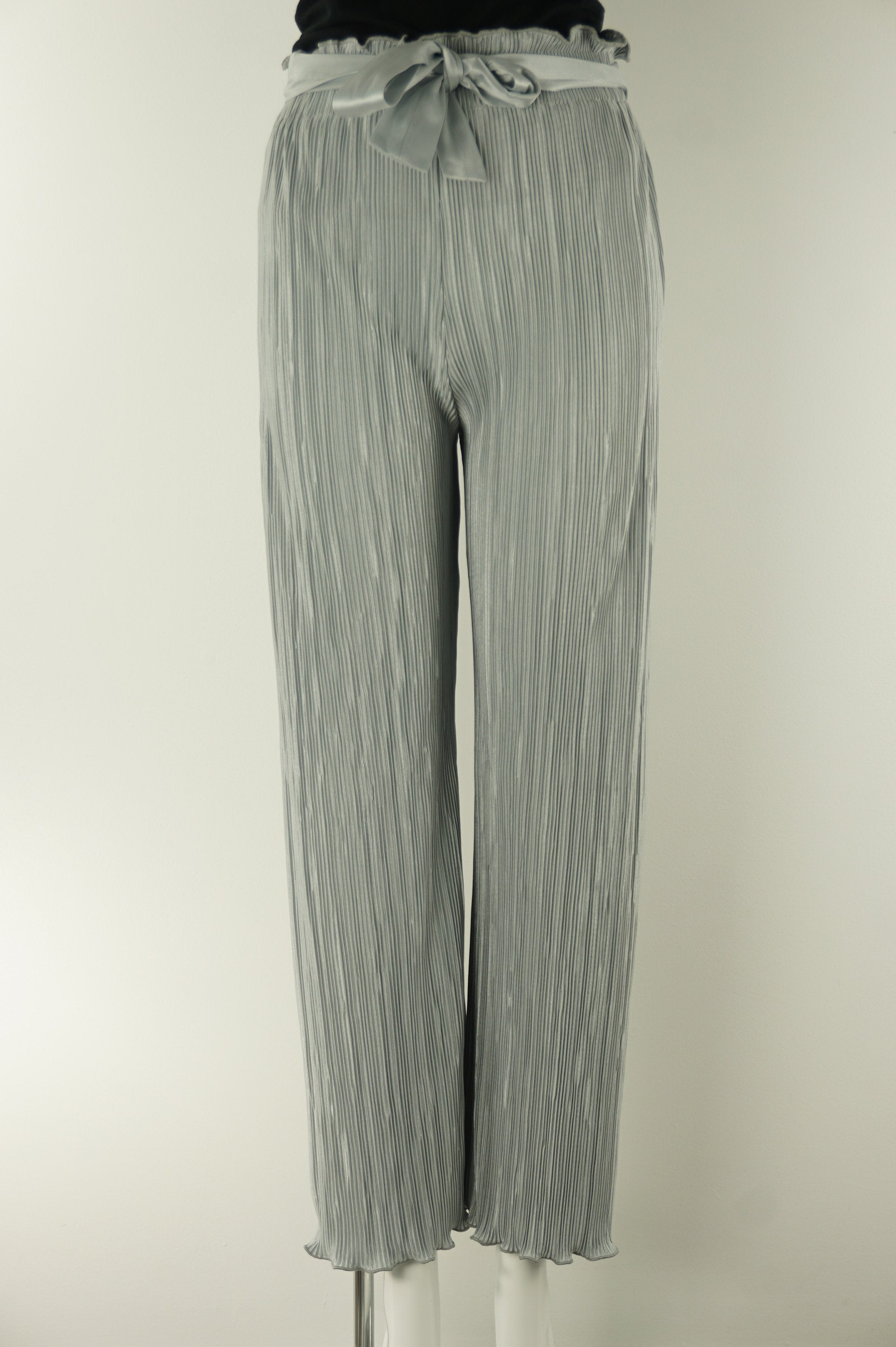Couturist Pleated Wide Leg Pants with Curl Edge, Probably different from other pants in your closet, this super stretchy pleated pants lets you move around comfortably in style! Elastic waistband with adjustable waist strap., Blue, Grey, Sythetic Stretchy Fabric, women's Pants, women's Blue, Grey Pants, Couturist women's Pants, women's pleated stretchy pants, women's soft silky palazzo pants