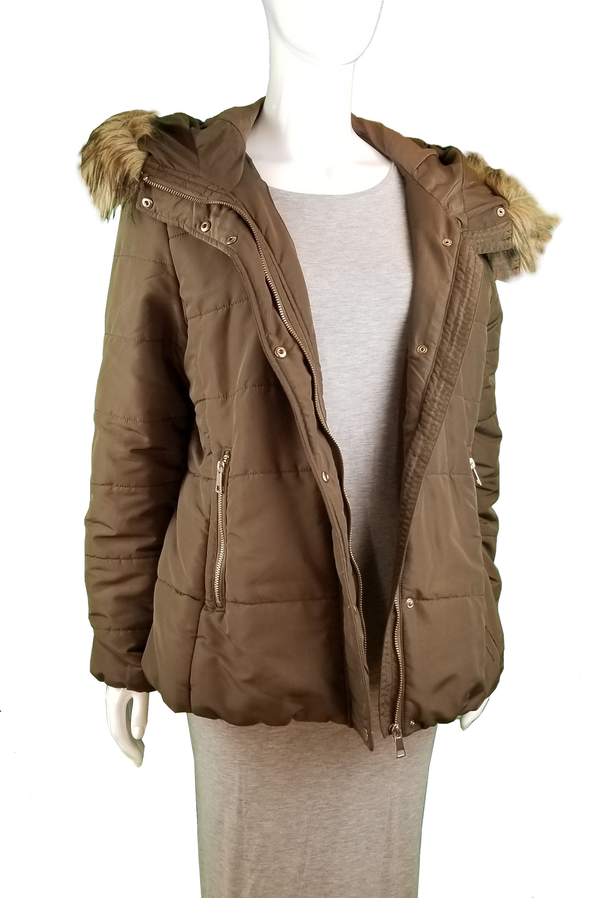 H&M Hooded Jacket, Warm hooded jacket. Signs of wearing at buttons and zipper, Green, 100% Polyester, women's Jackets & Coats, women's Green Jackets & Coats, H&M women's Jackets & Coats, women's winter jacket, women's warm jacket
