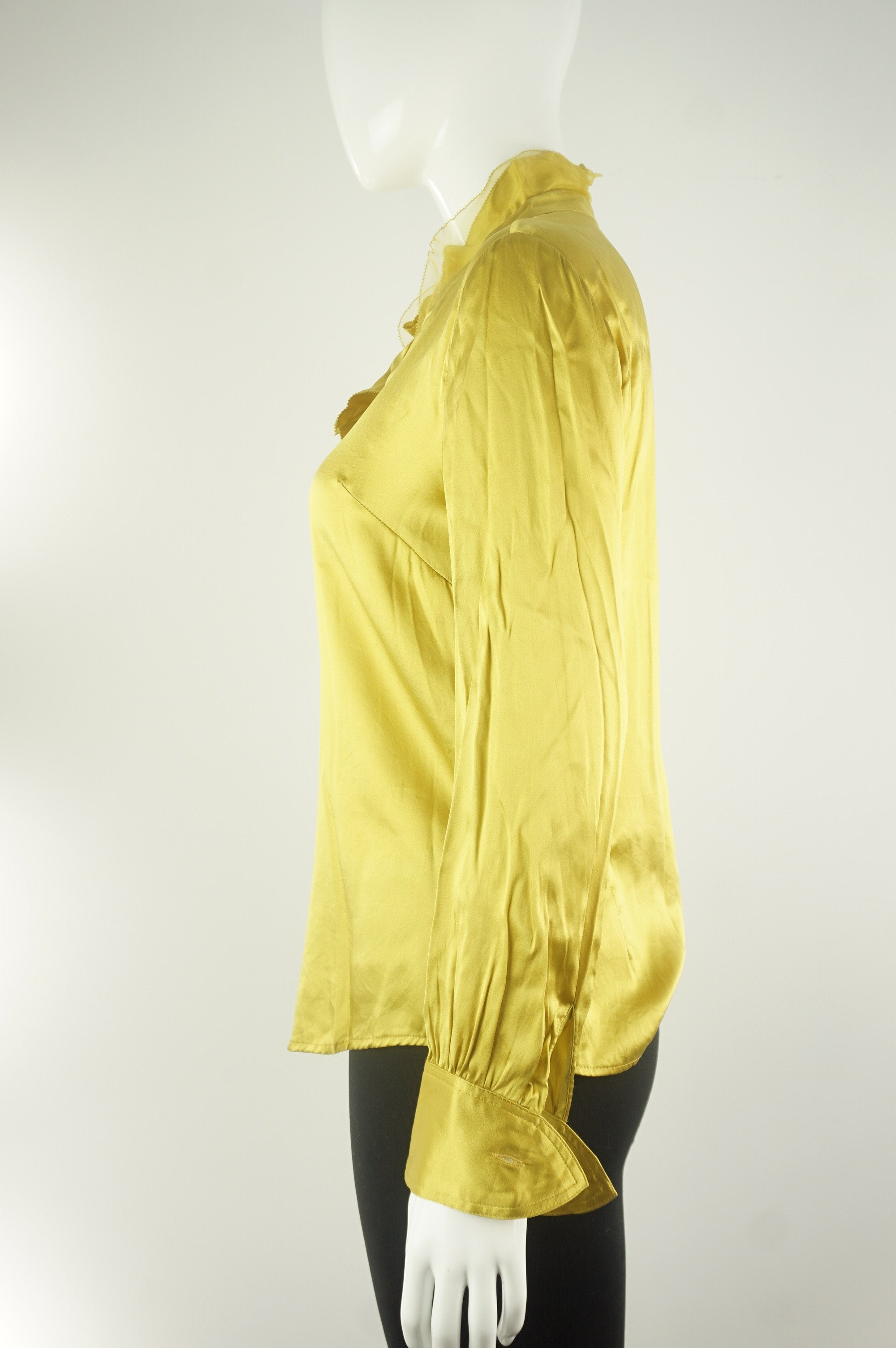 Elli Share Pure Silk Dress Shirt, Super light silk shirt with added spandex for stretchiness and comfort. Stylish on its own or with a kickass blazer.  Labeled Size M but fits Small., Yellow, 97% Silk, 3% Spandex, women's Tops, women's Yellow Tops, Elli Share women's Tops, silk work collar shirt with ruffle neck, silk professional collar shirt