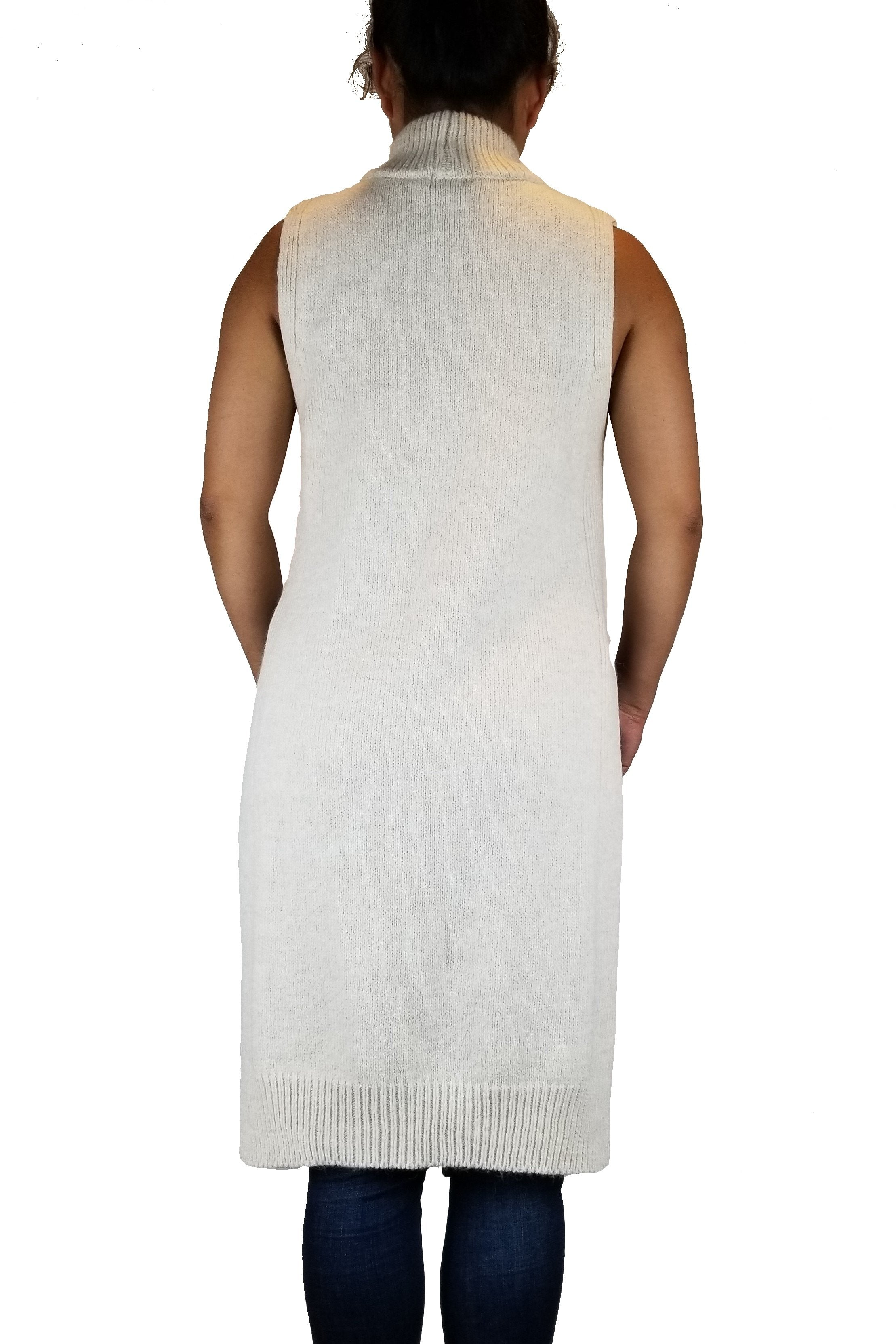Topshop Sleeveless Sweater dress, I never understood sleeveless sweater dresses until the regular sweater sleeves failed to slip into a skinny fall jacket. Enough said., White, 90%Arcrylic, 7% Polyamide, 3% Polyester, women's long white sweater, women's comfy turtle neck sleeveless sweater