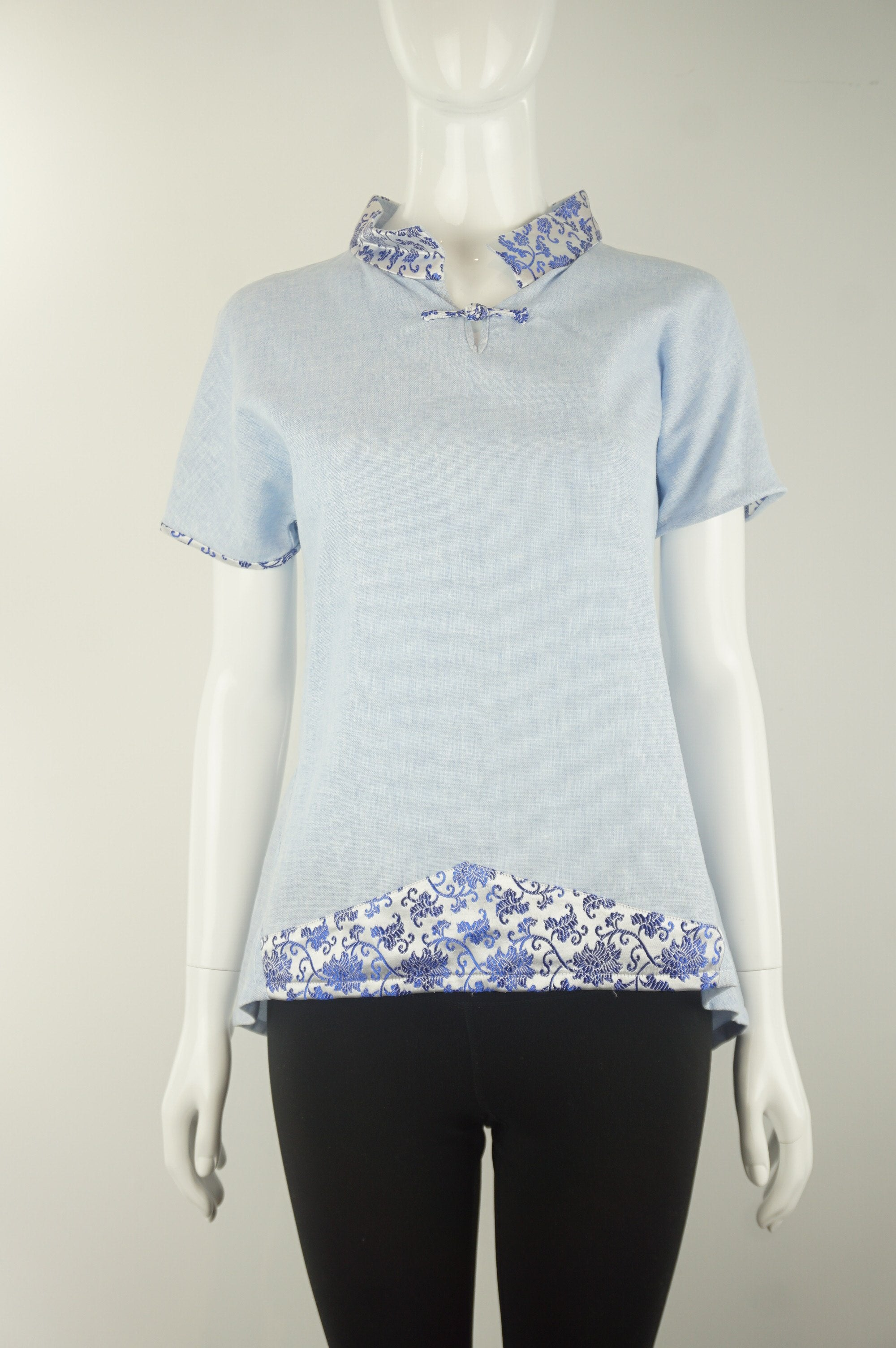 Elli Share Traditional Chinese Style Inspired Top, Unique design featuring traditional Chinese cultural elements but creative modern design. One of a kind grab., Blue, White, Linen, women's Tops, women's Blue, White Tops, Elli Share women's Tops, elegant top, traditional Chinese style top maderin collar, linen shirt, comfortable qibao inspired linen shirt