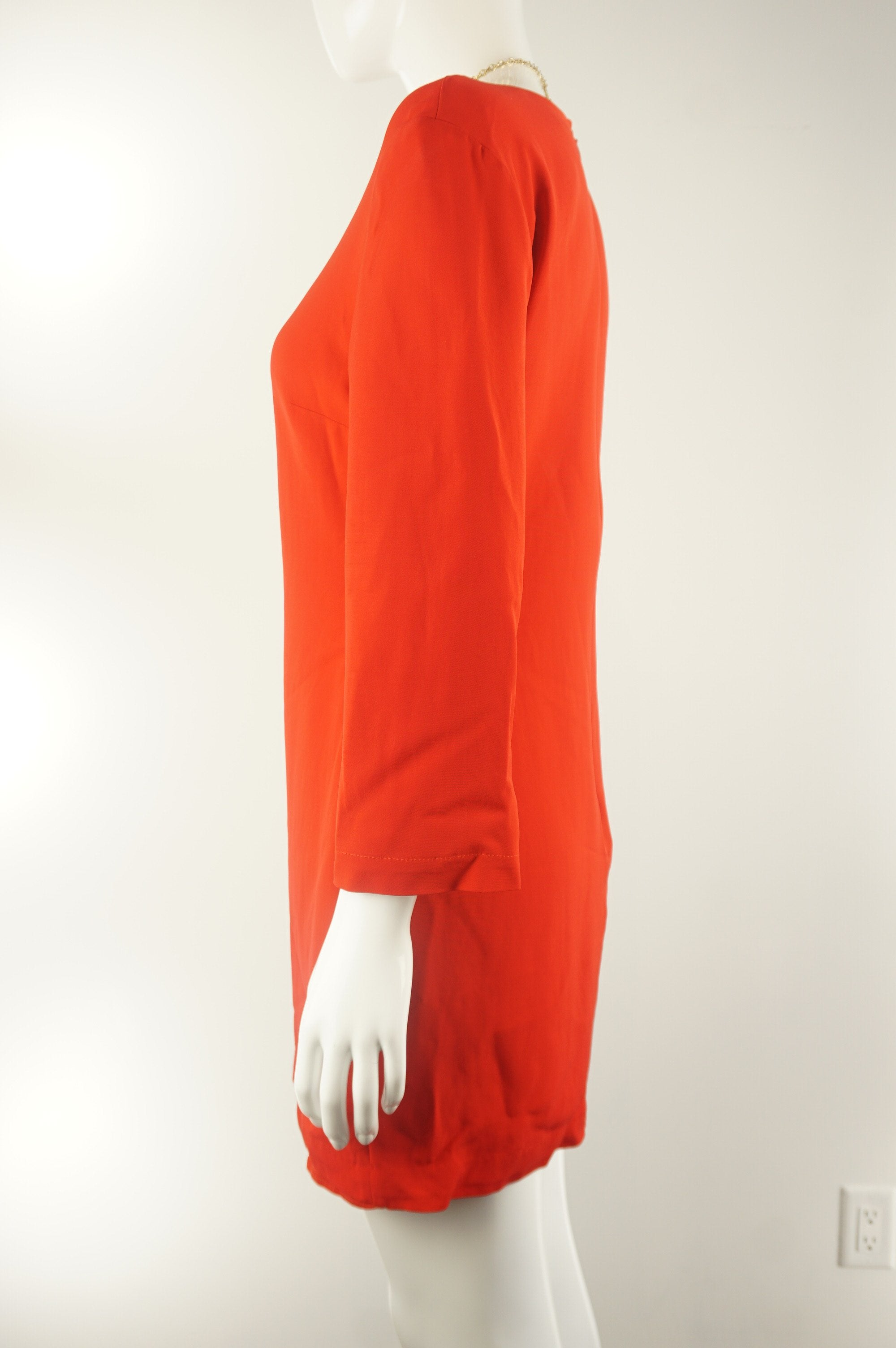 Babaton Elegant Red Dress, Simple, elegant, and vibrate dress. Perfect for brighten up the office wear., Red, 98% Viscose, 2% Spandex, women's Dresses & Rompers, women's Red Dresses & Rompers, Babaton women's Dresses & Rompers, vibrant orange office tunic dress with long sleeves, elegant red straight dress, aritzia dress, aritzia red tunic dress